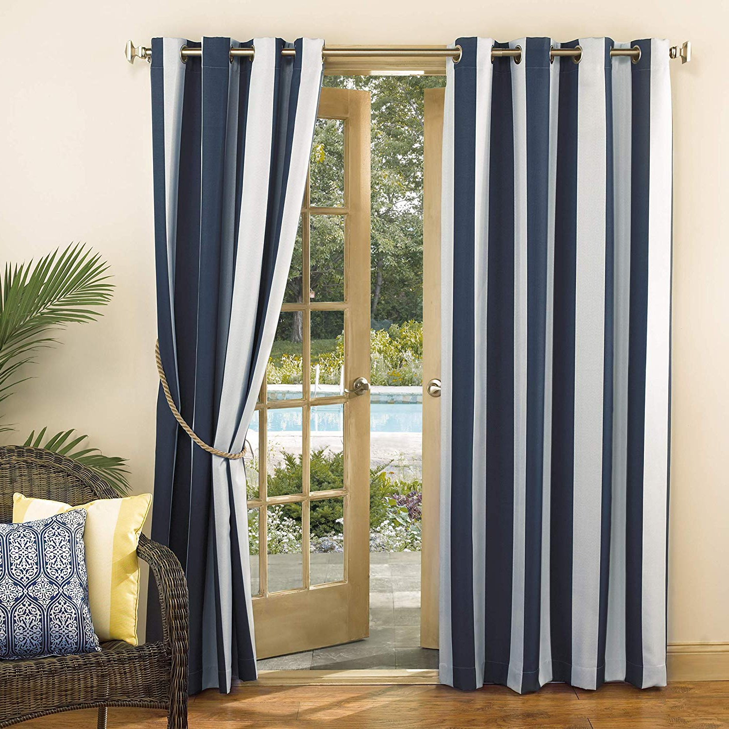 "Most Recently Released Valencia Cabana Stripe Indoor/outdoor Curtain Panels Within Sun Zero Valencia Uv Protectant Indoor Outdoor Curtain Panel, 54"" X 84"", Navy Blue (View 8 of 20)"