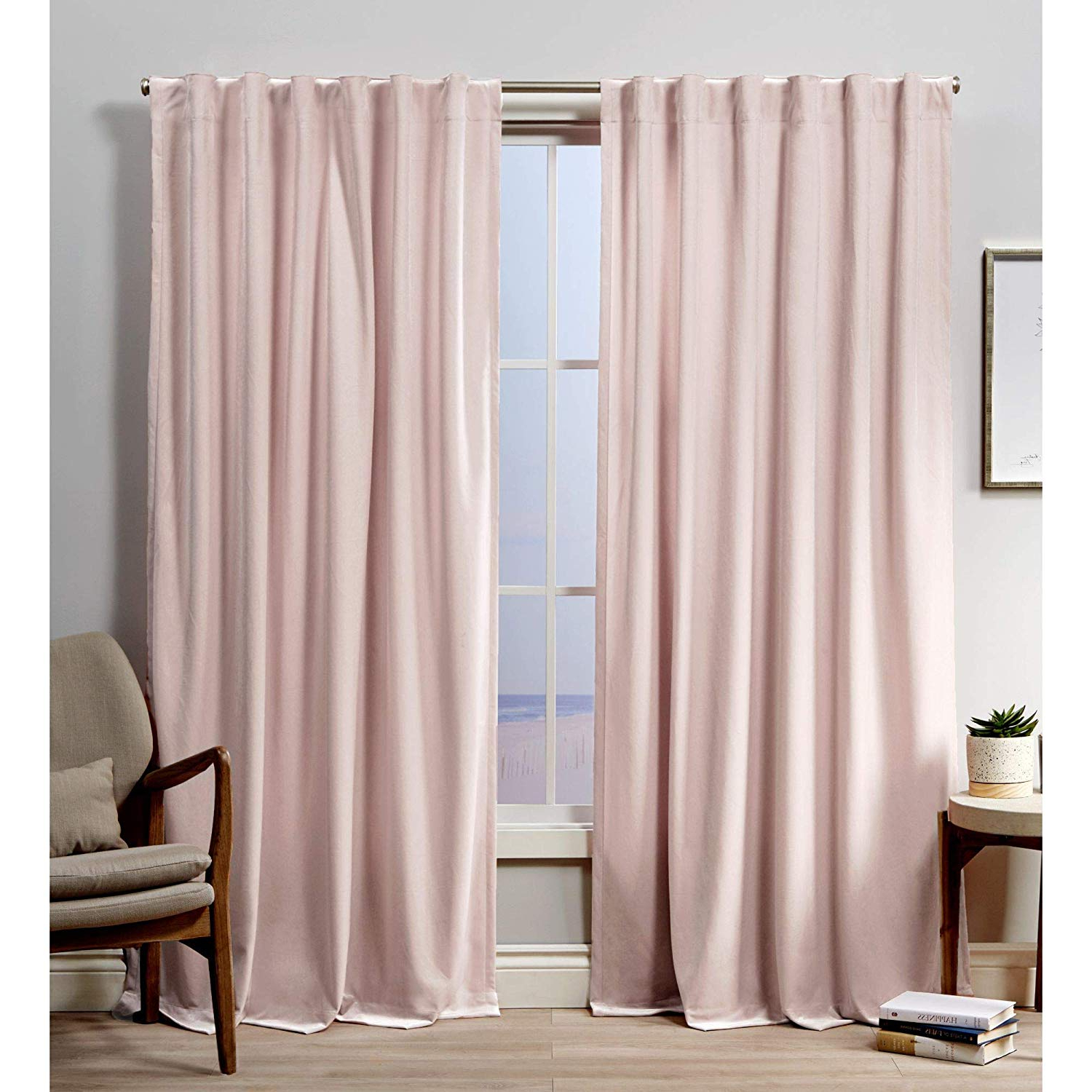 Most Recently Released Velvet Heavyweight Grommet Top Curtain Panel Pairs Pertaining To Exclusive Home Curtains Velvet Hidden Tab Top Curtain Panel, 52x84, Blush, 2 Panels (View 19 of 20)