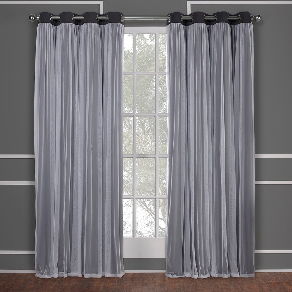 "Most Up To Date Ati Home Catarina Layered Blackout And Sheer Curtain Panel Pair W/ Grommet Top 108"" In Winter White (as Is) (View 8 of 20)"