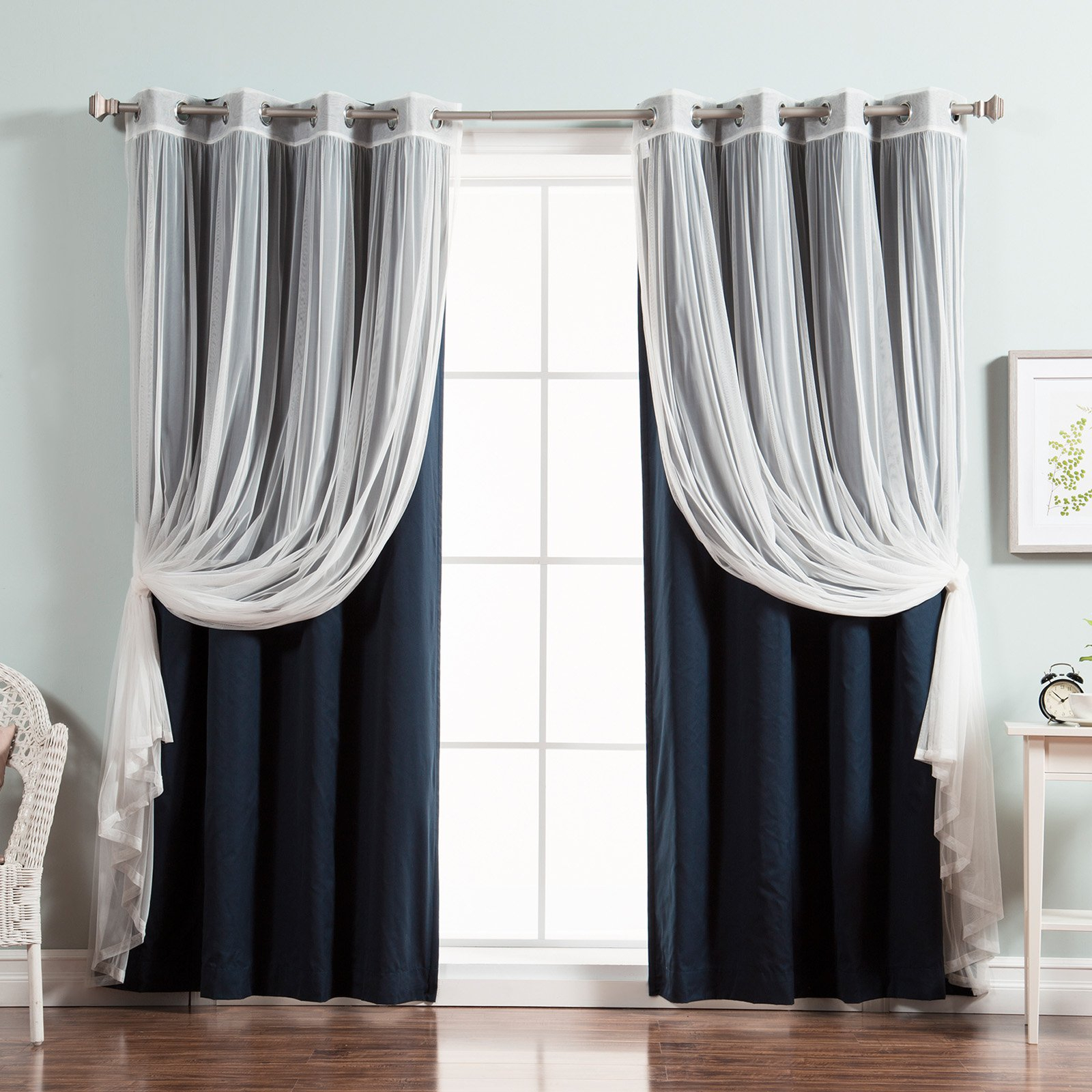 Most Up To Date Best Home Fashion Tulle Lace And Solid Cotton Blackout Mix & Match Curtain Panels – Set Of 4 Regarding Solid Cotton Curtain Panels (View 19 of 20)