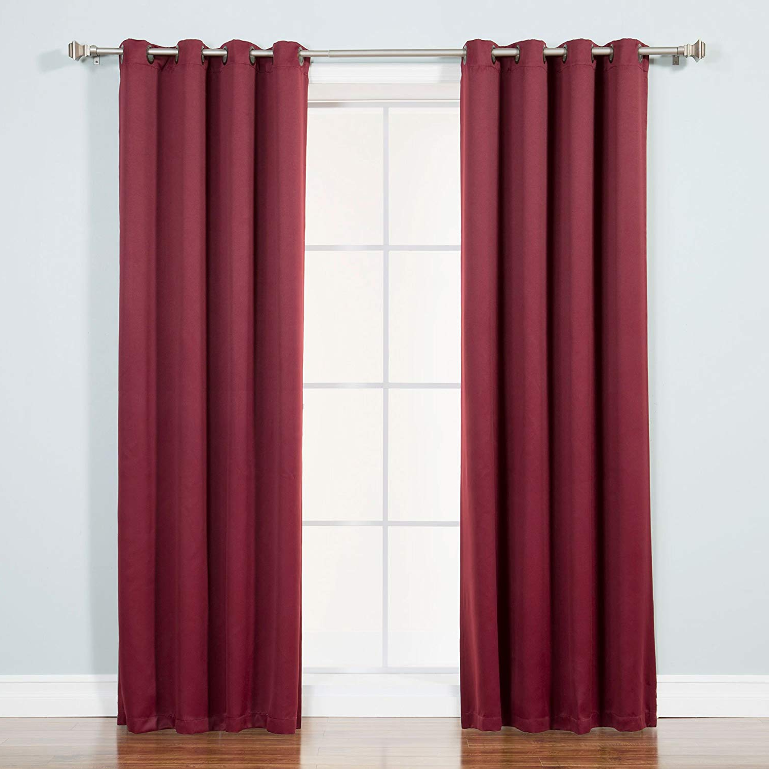 "Most Up To Date Burgundy Solid Grommet Top Thermal Insulated Blackout Curtains 104""wx 108""l Pair(each Panel: 52"" W X 108"" L) With Thermal Insulated Blackout Curtain Pairs (View 20 of 20)"