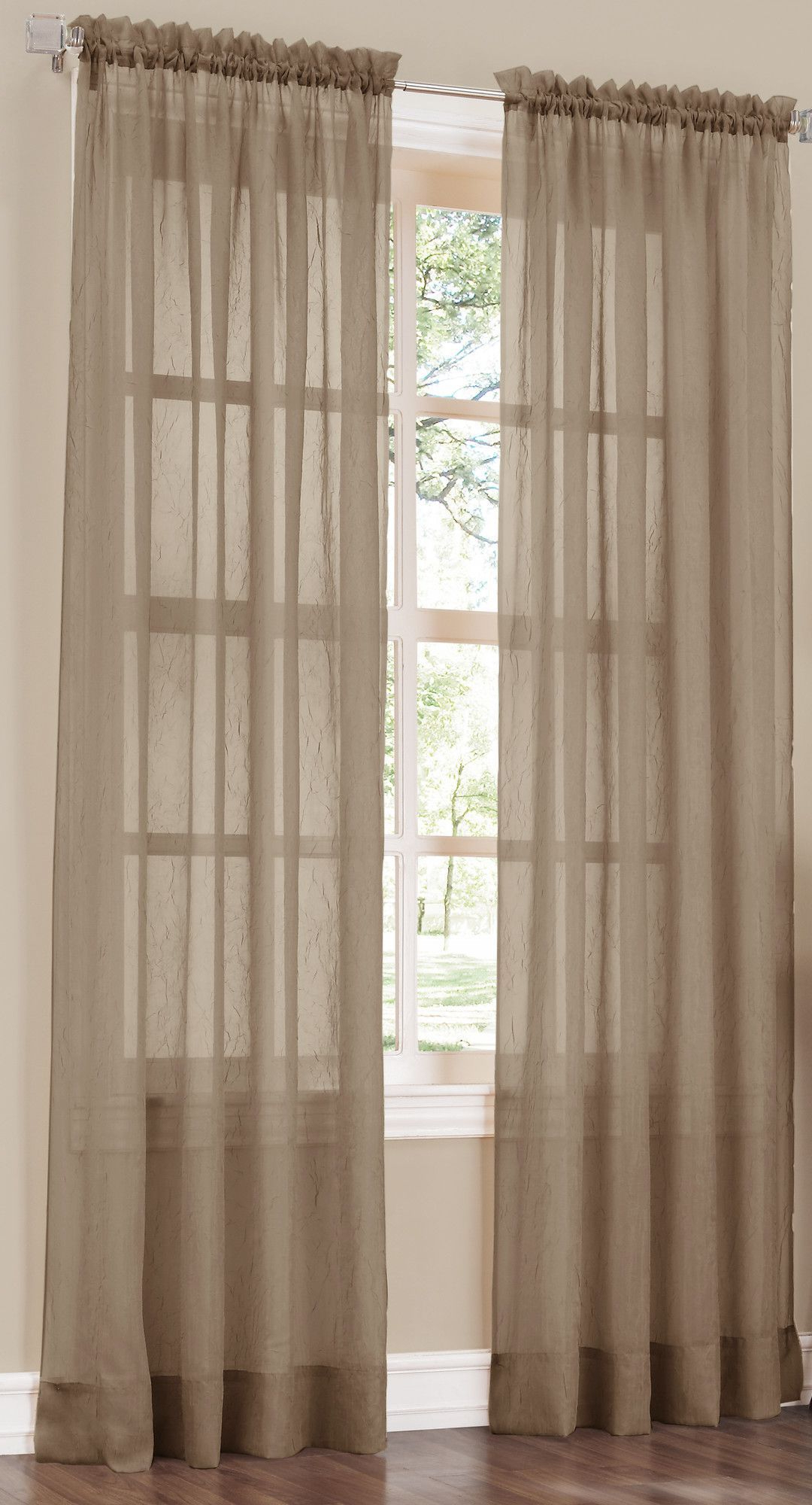 Most Up To Date Crushed Sheer Voile Solid Sheer Rod Pocket Single Curtain Pertaining To Erica Sheer Crushed Voile Single Curtain Panels (Gallery 6 of 20)