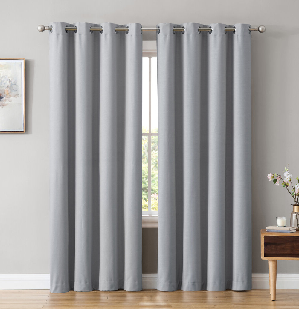 Most Up To Date Duran Thermal Insulated Blackout Grommet Curtain Panels With Regard To Marin Textured Under Energy Efficient Solid Color Max Blackout Thermal Grommet Curtain Panels (View 10 of 21)
