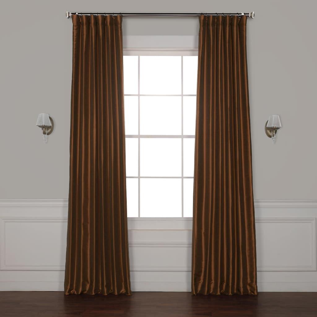 Most Up To Date Eff 1 Panel Vintage Textured Faux Dupioni Silk Window Regarding True Blackout Vintage Textured Faux Silk Curtain Panels (View 12 of 20)