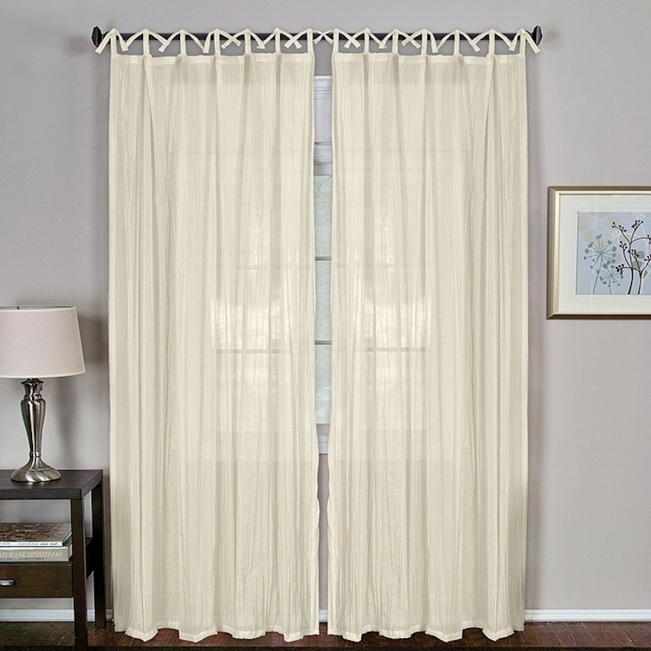 "Most Up To Date Elrene Jolie Tie Top Curtain Panels Intended For Elrene Home Fashions Jolie 108"" L, 1 Tie Top Loop Curtain Panel – Ivory (View 12 of 20)"