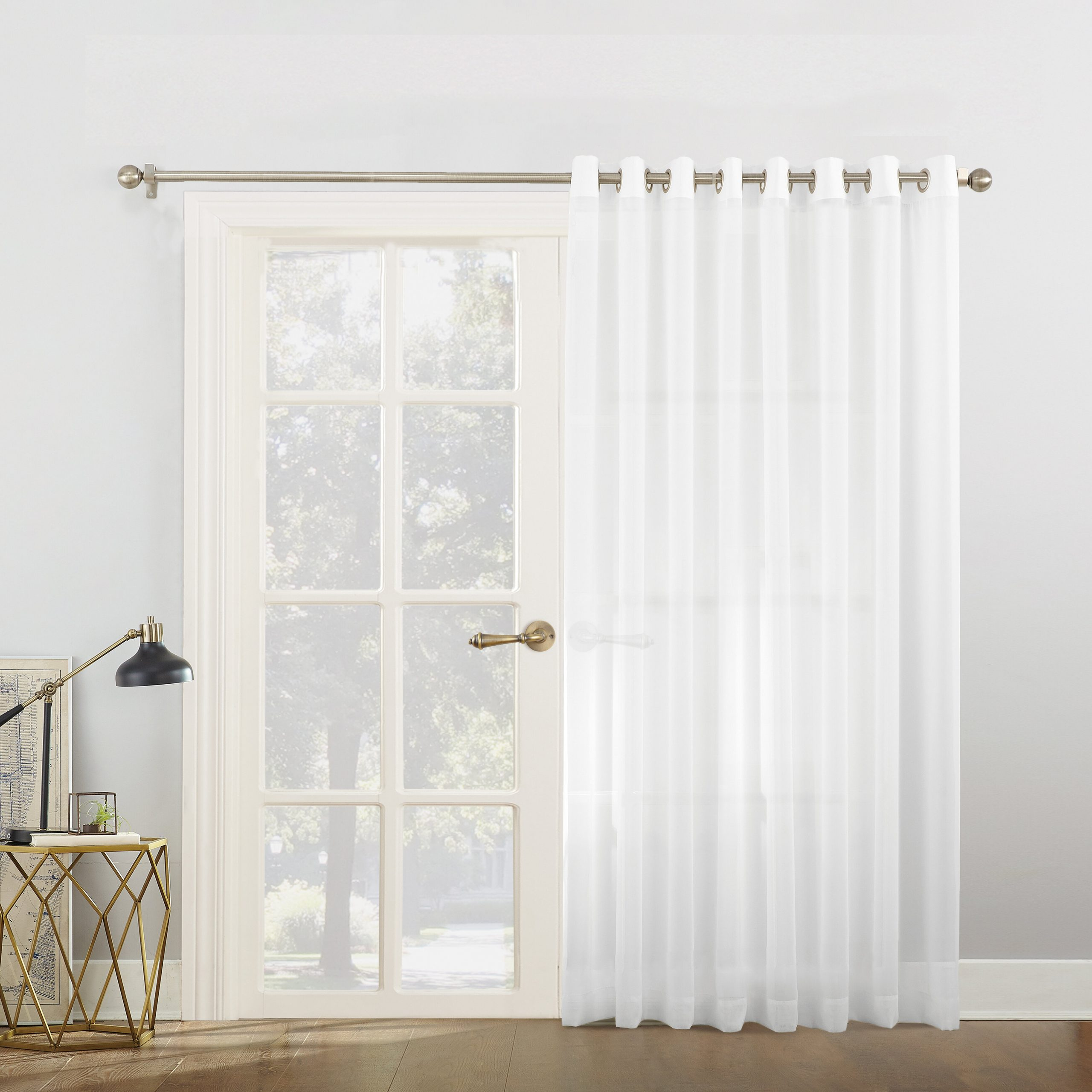 Most Up To Date Emily Voile Sliding Door Patio Solid Semi Sheer Grommet Single Curtain Panel Pertaining To Emily Sheer Voile Grommet Curtain Panels (View 13 of 20)