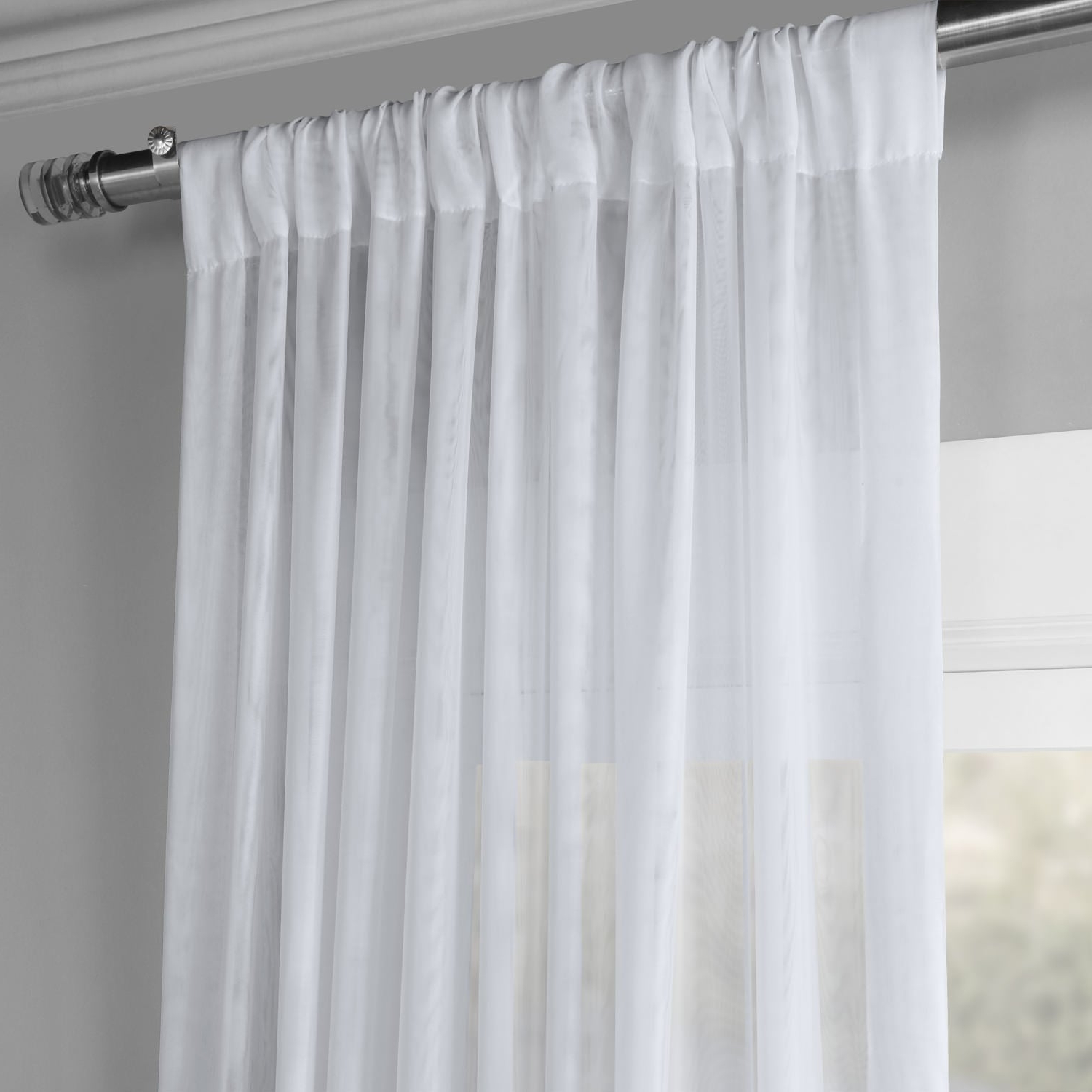 Most Up To Date Exclusive Fabrics Signature White Double Layer Sheer Curtain Panel For Signature White Double Layer Sheer Curtain Panels (View 3 of 20)