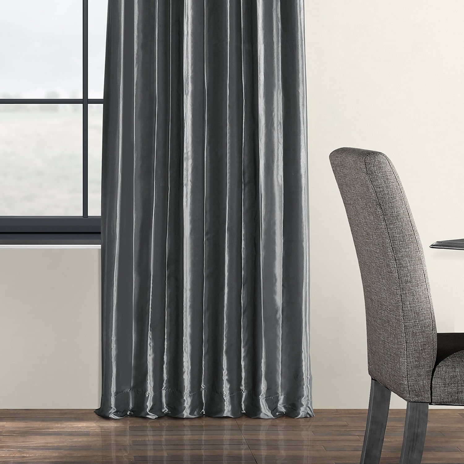Most Up To Date Exclusive Fabrics Solid Faux Silk Taffeta Graphite Single Curtain Panel In Solid Faux Silk Taffeta Graphite Single Curtain Panels (View 6 of 20)