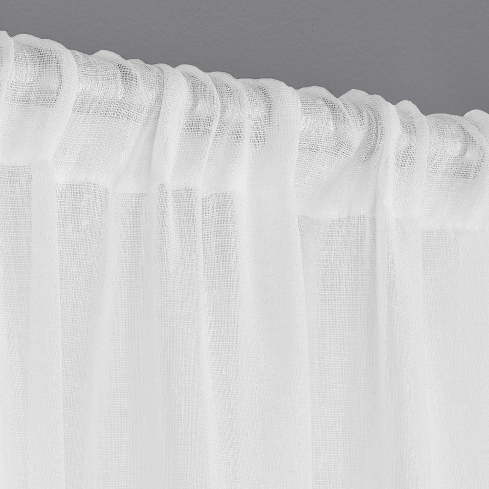 "Most Up To Date Exclusive Home Curtains Belgian Textured Linen Look Jacquard Sheer Window  Curtain Panel Pair With Rod Pocket, 108"" Length, Winter White, 2 Piece Intended For Belgian Sheer Window Curtain Panel Pairs With Rod Pocket (Gallery 19 of 20)"