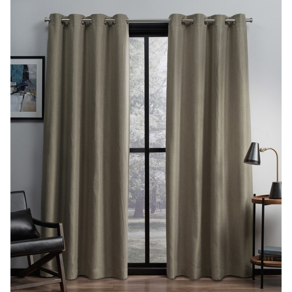 Most Up To Date Exclusive Home Eglinton Woven Blackout Grommet Top Curtain Panel Pair, Natural, 52x108 Inside Woven Blackout Grommet Top Curtain Panel Pairs (View 12 of 20)