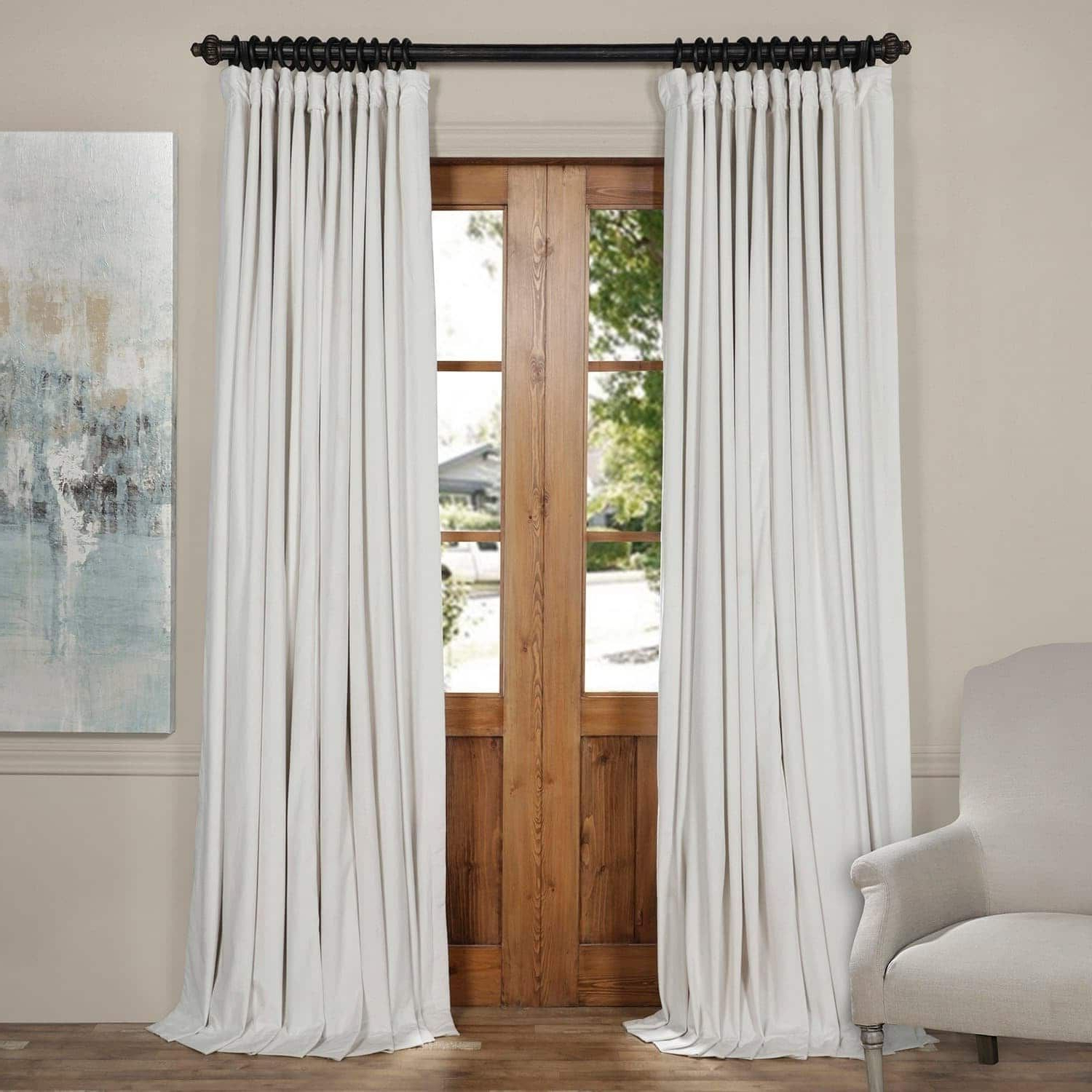 Most Up To Date Faux Silk Extra Wide Blackout Single Curtain Panels Regarding Exclusive Fabrics Off White Velvet Blackout Extra Wide (Gallery 18 of 20)