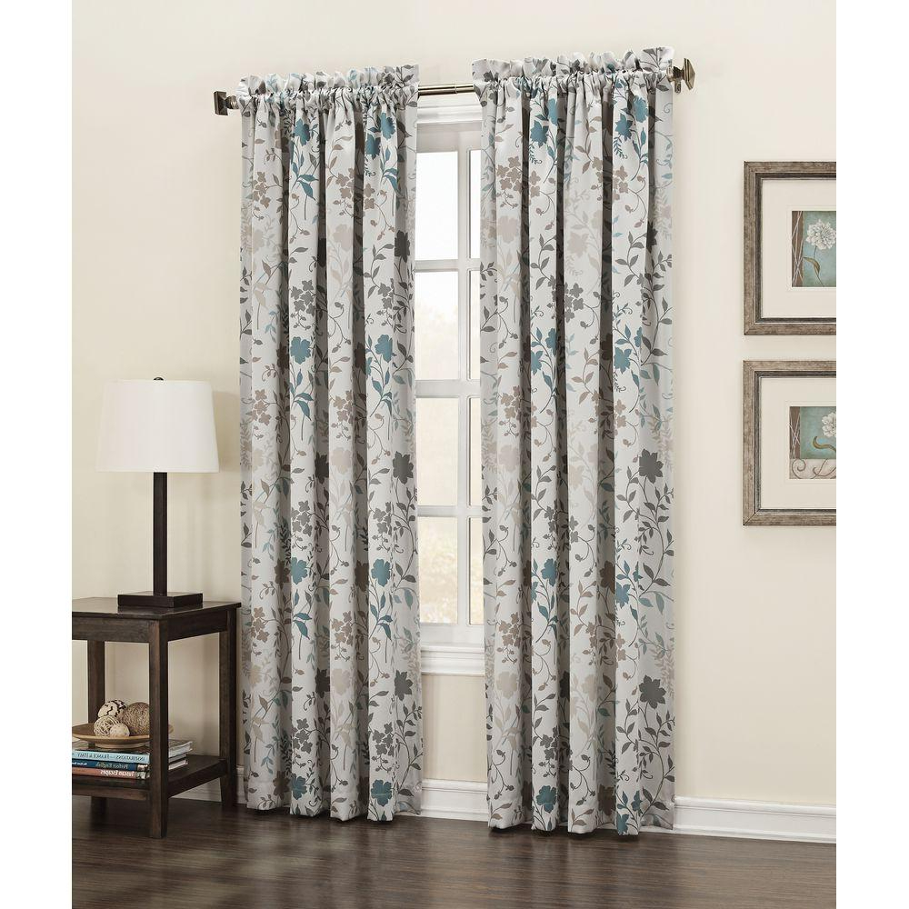 Most Up To Date Grey Printed Curtain Panels Intended For Sun Zero Semi Opaque Stone Abington Floral Printed Room Darkening Curtain Panel, 54 In. W X 84 In (View 2 of 20)