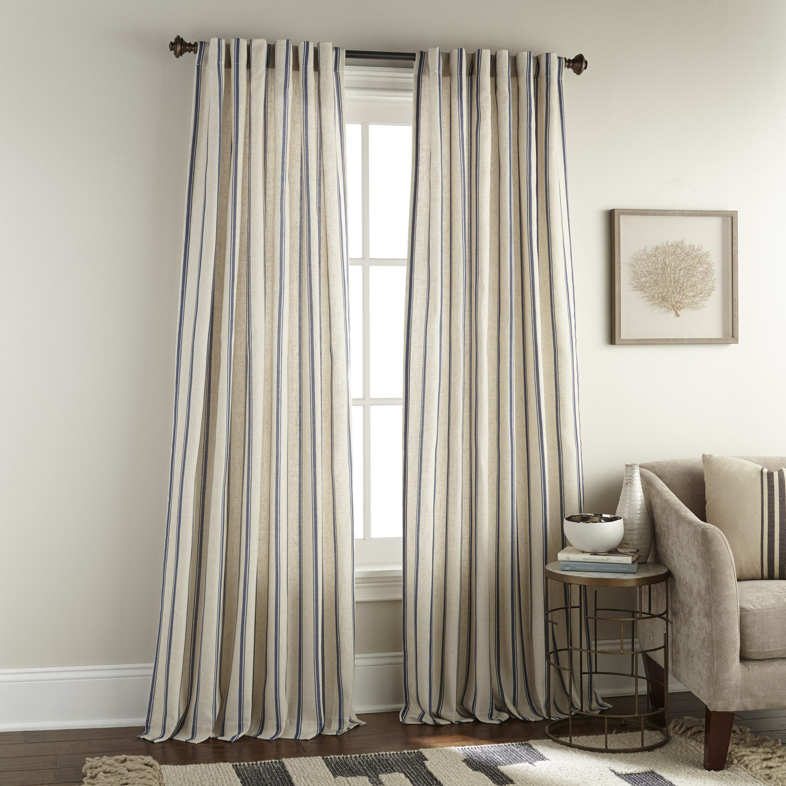Most Up To Date Highland Dunes Damore Vertical Stripe Rod Pocket Single Within Inez Patio Door Window Curtain Panels (View 12 of 20)