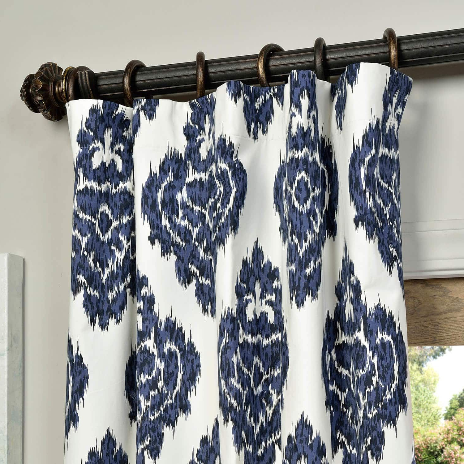 Most Up To Date Ikat Blue Printed Cotton Curtain In (View 6 of 20)