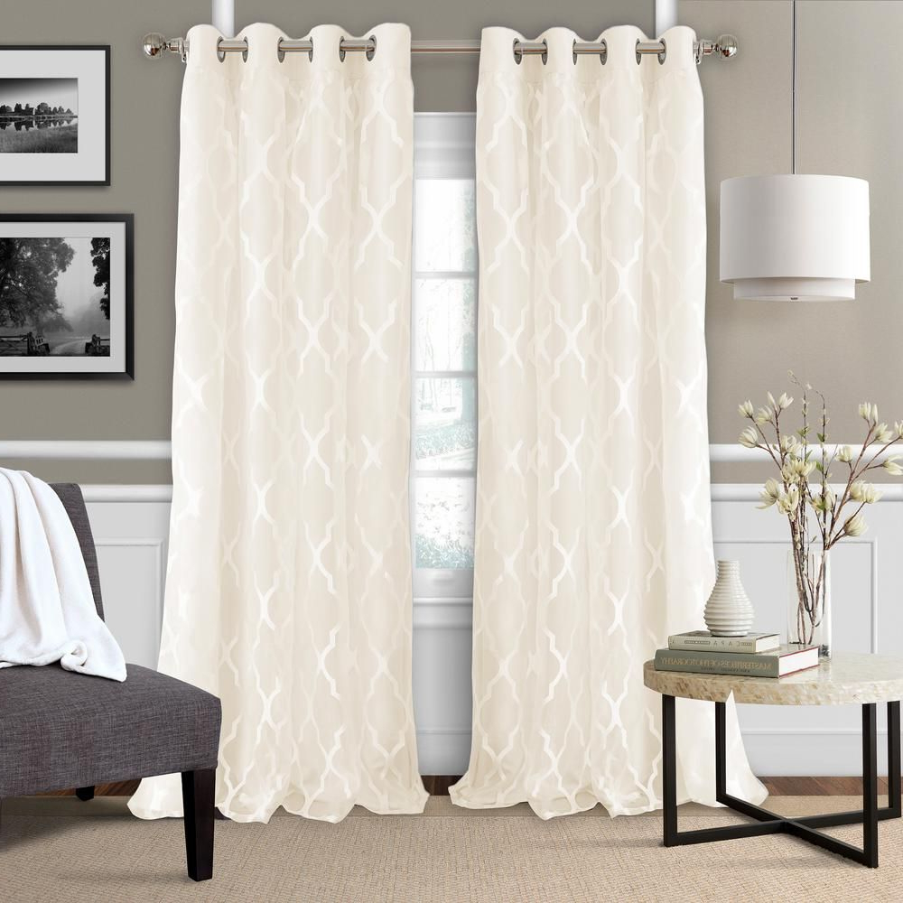 Most Up To Date Laya Fretwork Burnout Sheer Curtain Panels Throughout Elrene Bethany Sheer Overlay Blackout Window Curtain (Gallery 20 of 20)