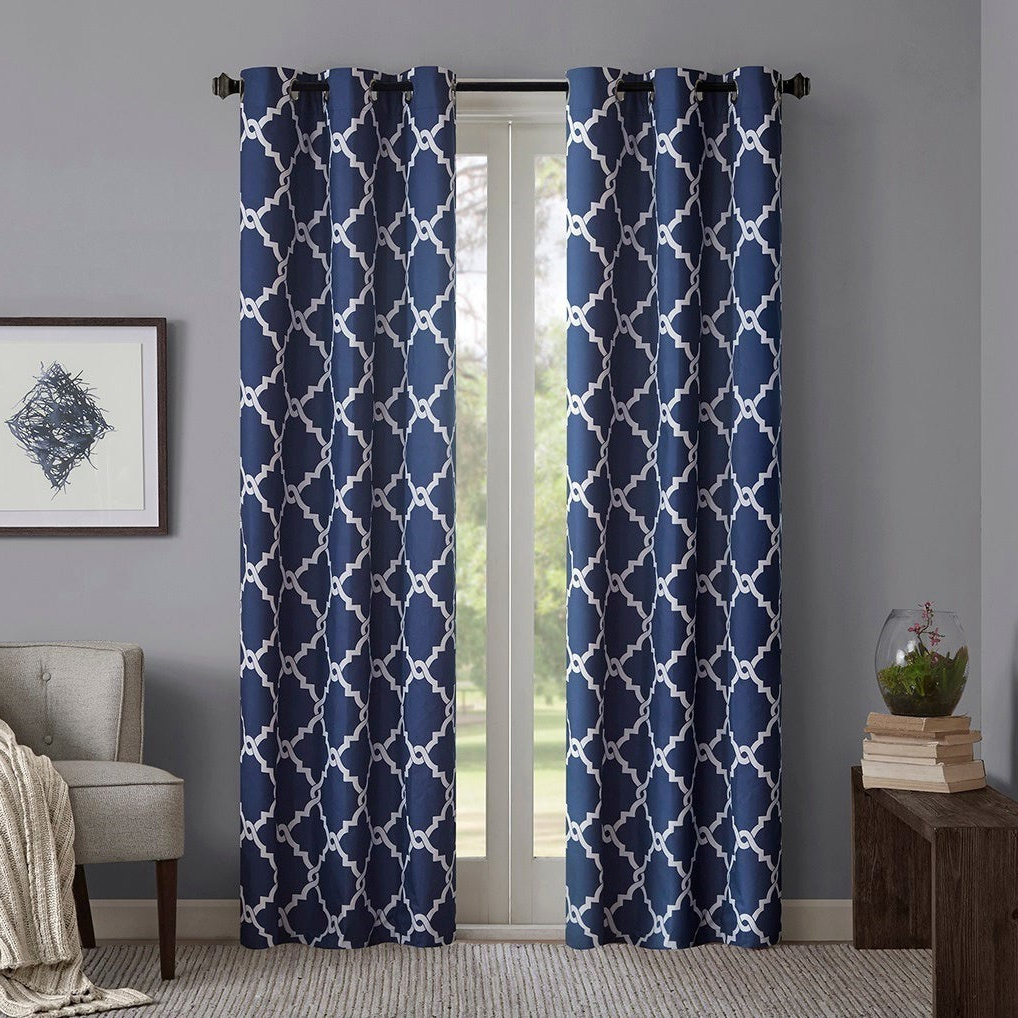 Most Up To Date Madison Park Essentials Almaden Fretwork Printed Grommet Top Curtain Panel Pair Intended For Essentials Almaden Fretwork Printed Grommet Top Curtain Panel Pairs (View 4 of 20)