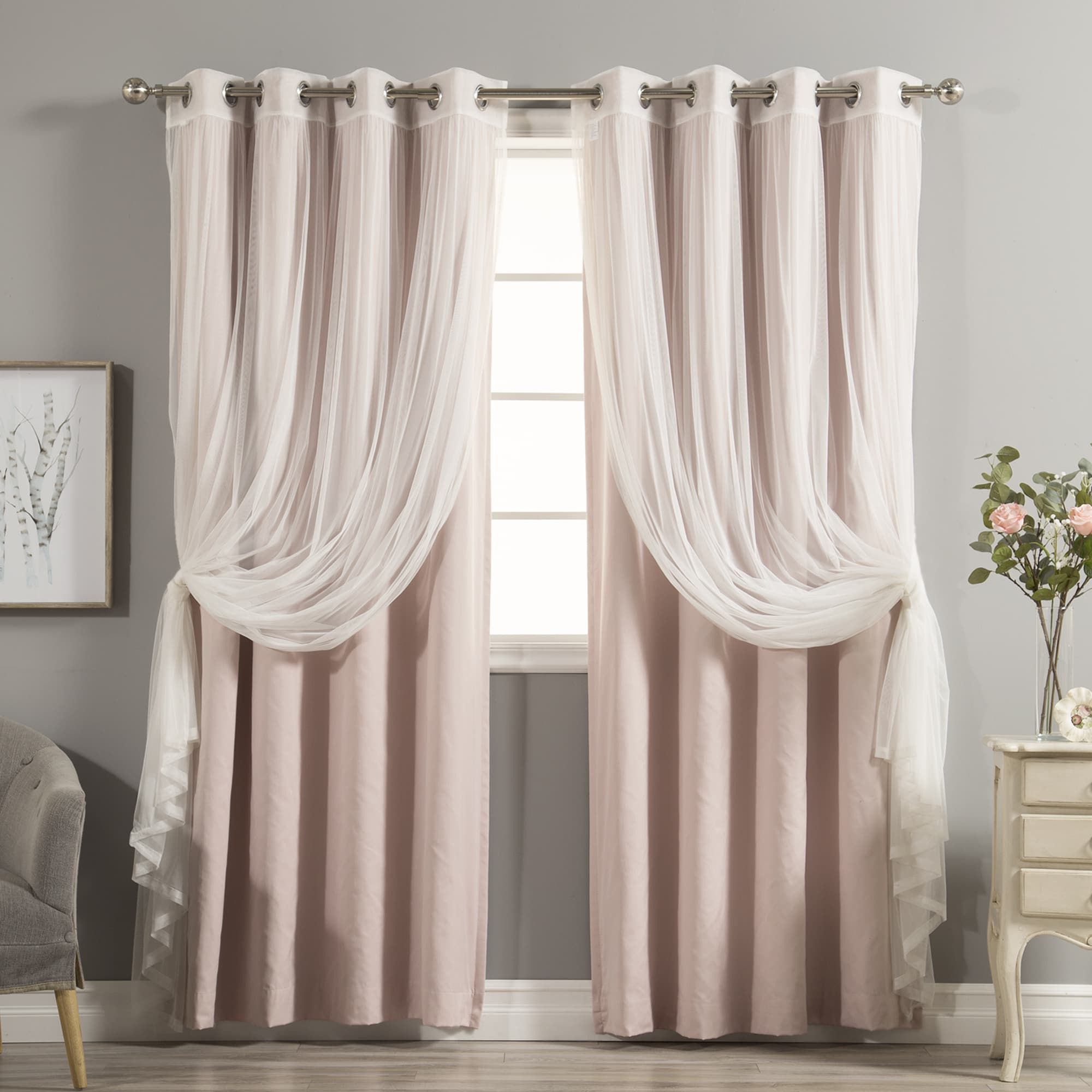 Most Up To Date Mix And Match Blackout Tulle Lace Sheer Curtain Panel Sets For Aurora Home Mix & Match Curtains Cotton Blackout And Tulle (Gallery 14 of 20)