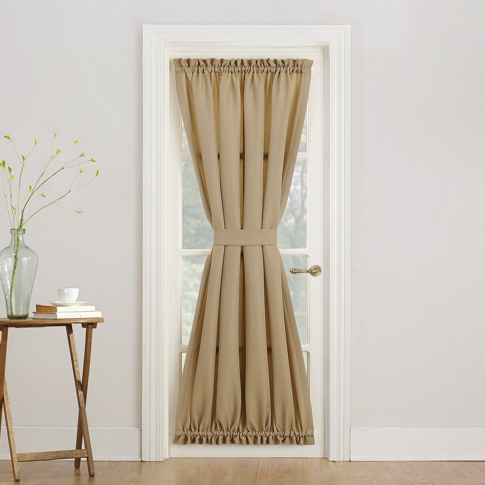 Most Up To Date Montego Casual Textured Door Curtain Panel Taupe (Brown) 48 Intended For Nantahala Rod Pocket Room Darkening Patio Door Single Curtain Panels (Gallery 16 of 20)