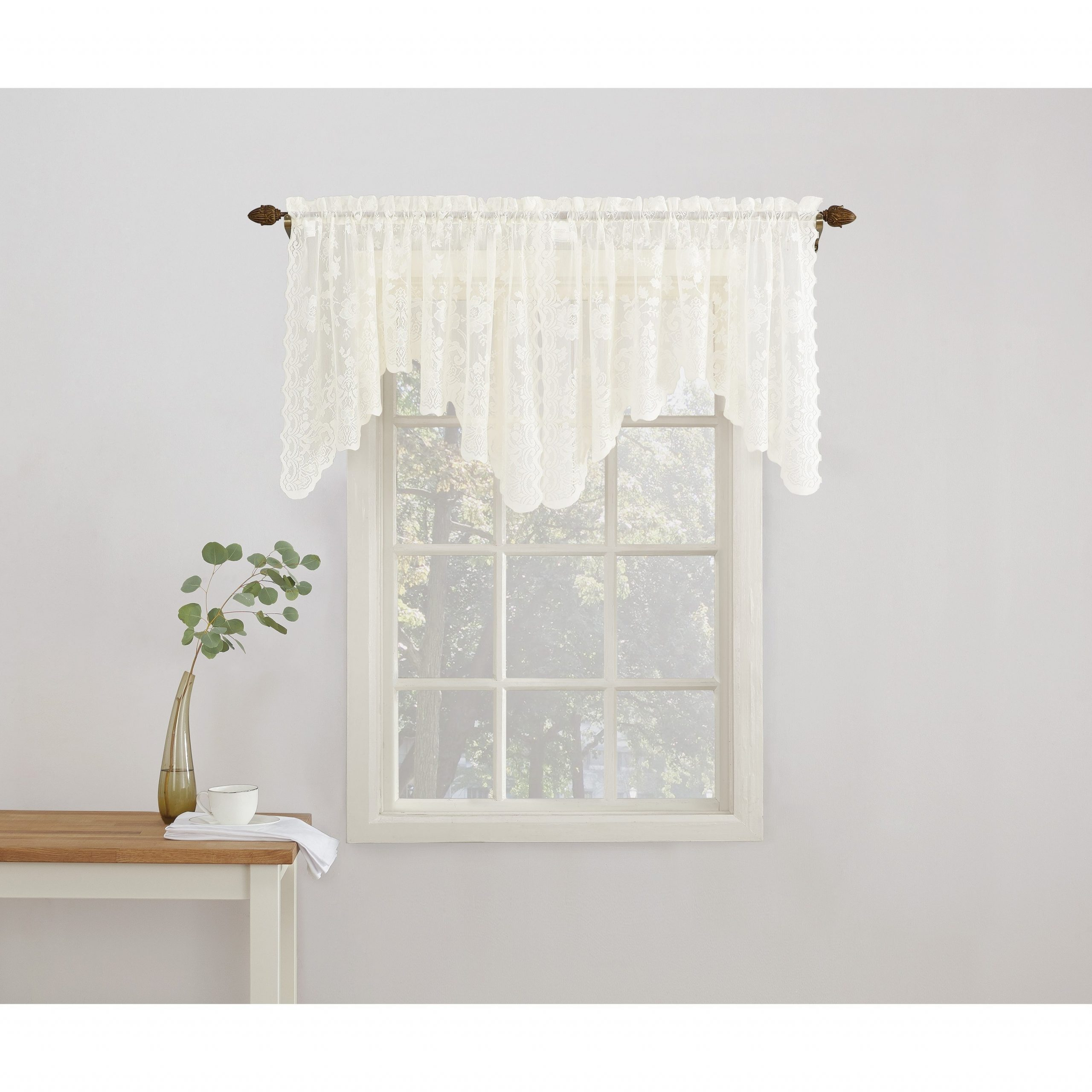 Most Up To Date No. 918 Alison Rod Pocket Lace Window Valance Within Alison Rod Pocket Lace Window Curtain Panels (Gallery 8 of 20)
