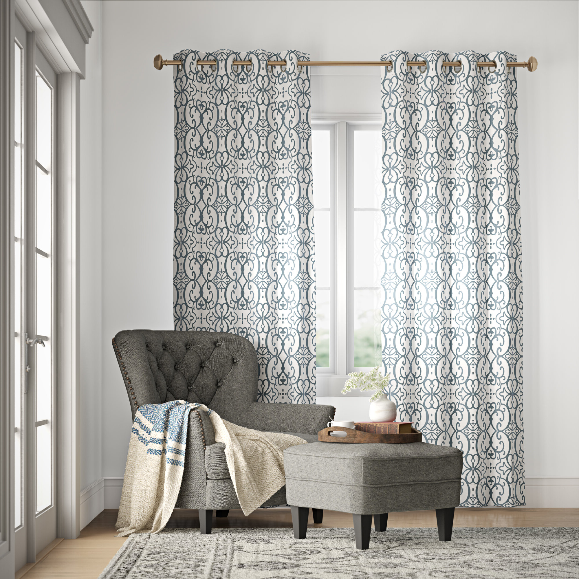 Most Up To Date Pastel Damask Printed Room Darkening Grommet Window Curtain Panel Pairs For Manda Damask Blackout Grommet Single Curtain Panel (View 13 of 20)