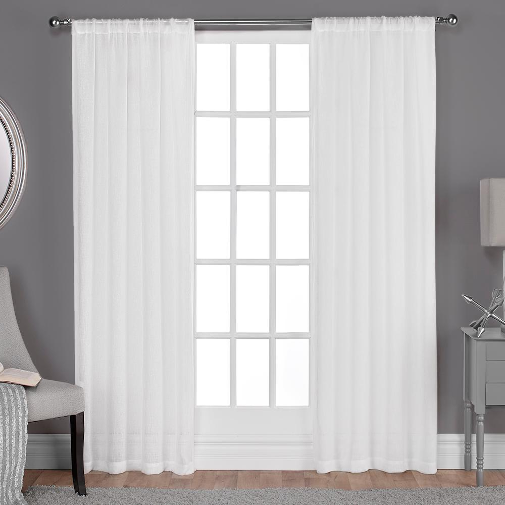 Most Up To Date Rod Pocket Curtain Panels Regarding Belgian 50 In. W X 96 In. L Sheer Rod Pocket Top Curtain Panel In Winter White (2 Panels) (Gallery 20 of 20)