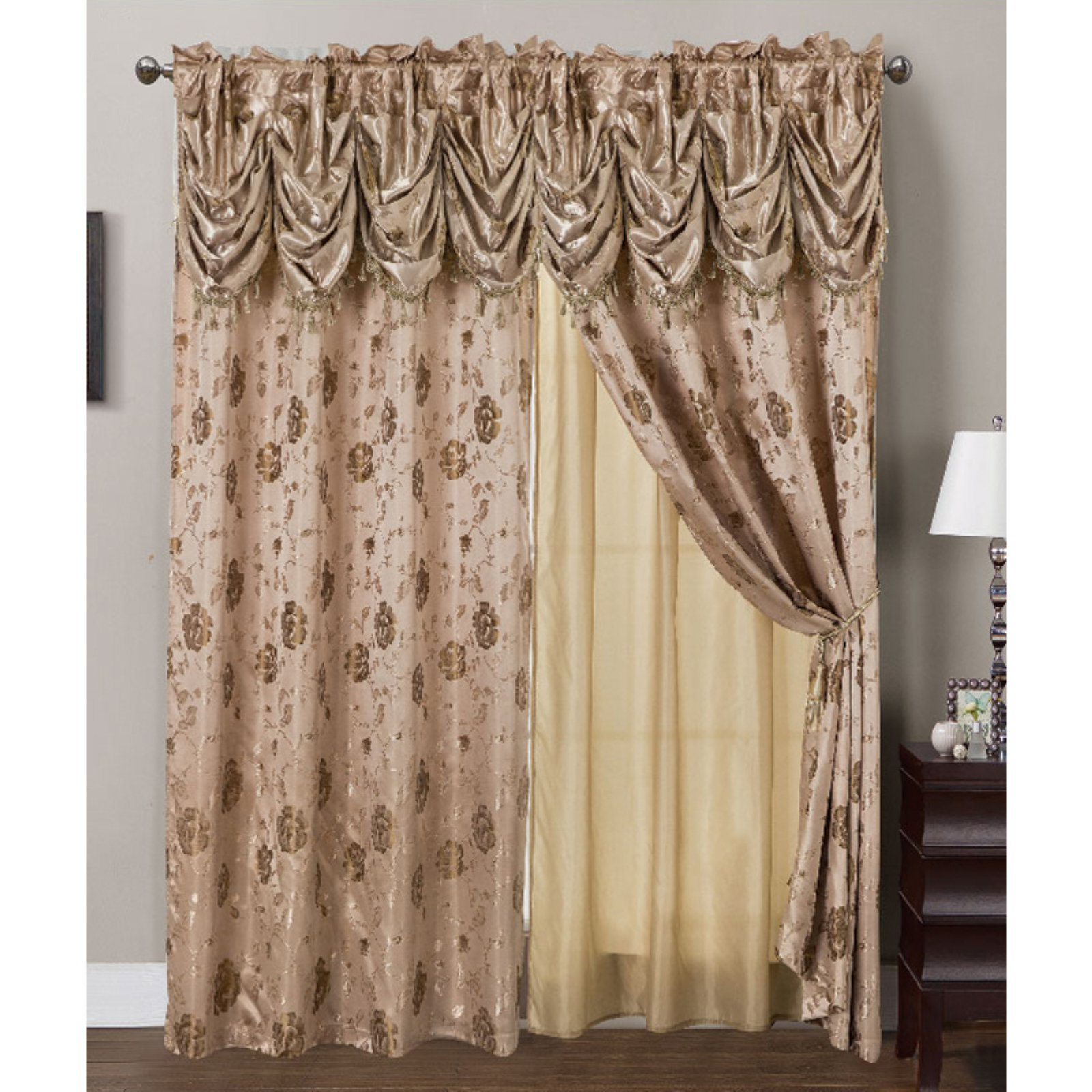 Most Up To Date Rt Designers Collection Kelly Jacquard Double Rod Pocket With Elegant Comfort Luxury Penelopie Jacquard Window Curtain Panel Pairs (View 10 of 20)