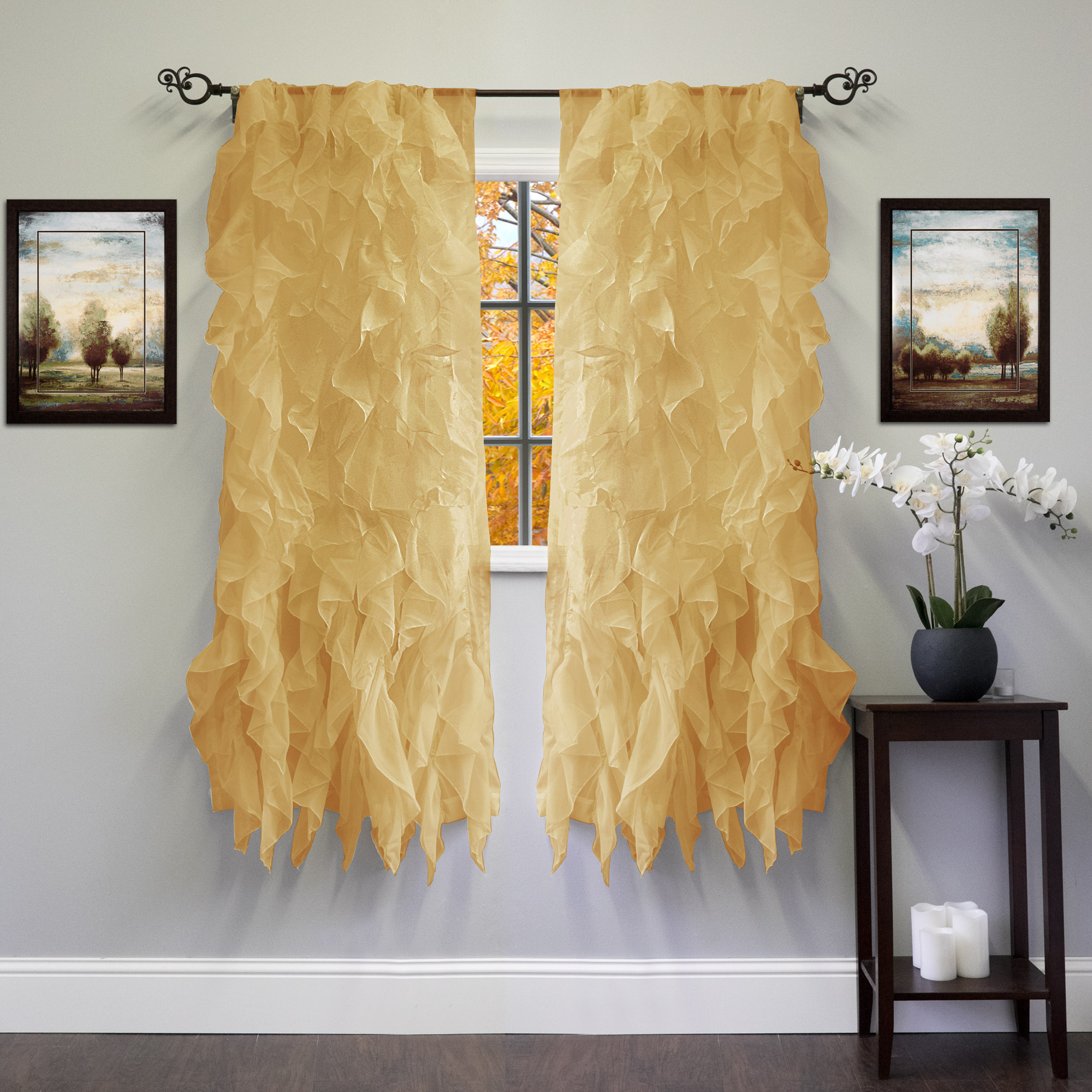 """Most Up To Date Sheer Voile Ruffled Tier Window Curtain Panels For Chic Sheer Voile Vertical Ruffled Tier Window Curtain Single Panel 50"""" X 63"""" (View 4 of 20)"""