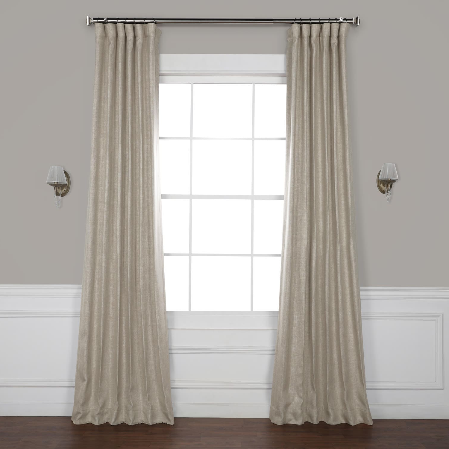 Most Up To Date Signature French Linen Curtain Panels Pertaining To Oatmeal Faux Linen Blackout Curtain (View 8 of 20)