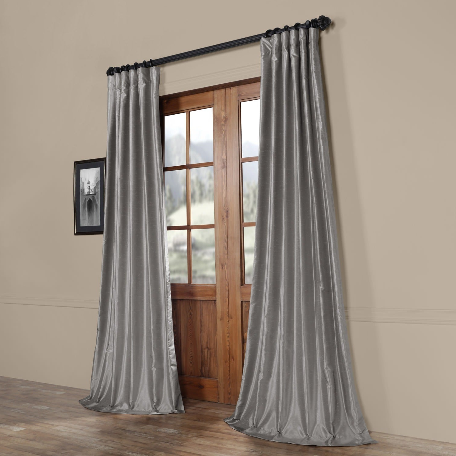 Most Up To Date Storm Grey Vintage Faux Textured Dupioni Single Silk Curtain Panels With Exclusive Fabrics Silver Vintage Faux Textured Dupioni Silk Curtain Panel (View 2 of 20)