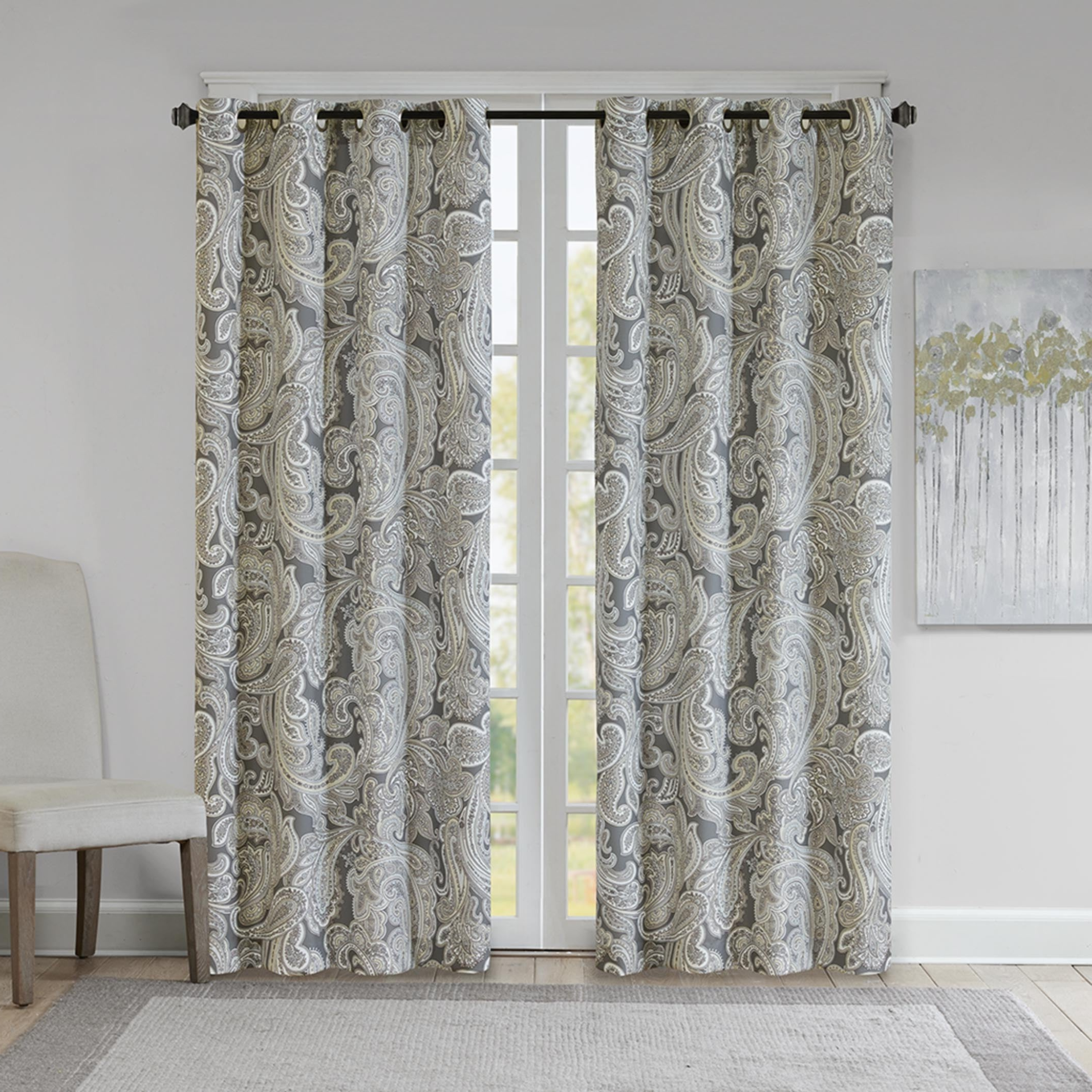 Most Up To Date Sunsmart Dahlia Paisley Printed Total Blackout Single Window Curtain Panels Throughout Gracewood Hollow Sutherland Grey Cotton Printed Paisley Curtain Panel (View 14 of 20)