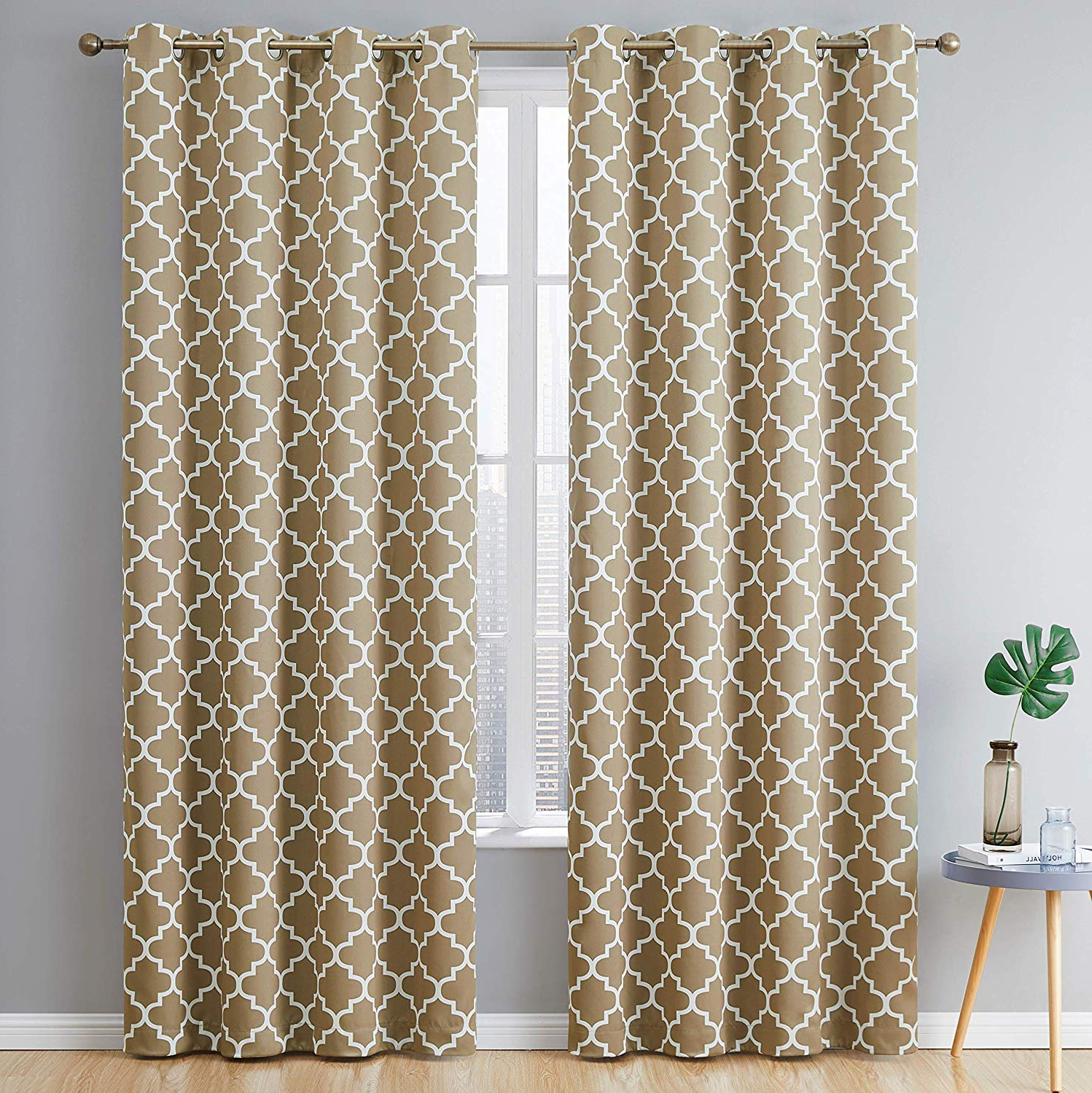 Most Up To Date Thermal Insulated Blackout Grommet Top Curtain Panel Pairs Intended For Hlc Lattice Print Thermal Insulated Blackout Window Curtain Panels, Pair, Chrome Grommet Top, Taupe (View 11 of 20)
