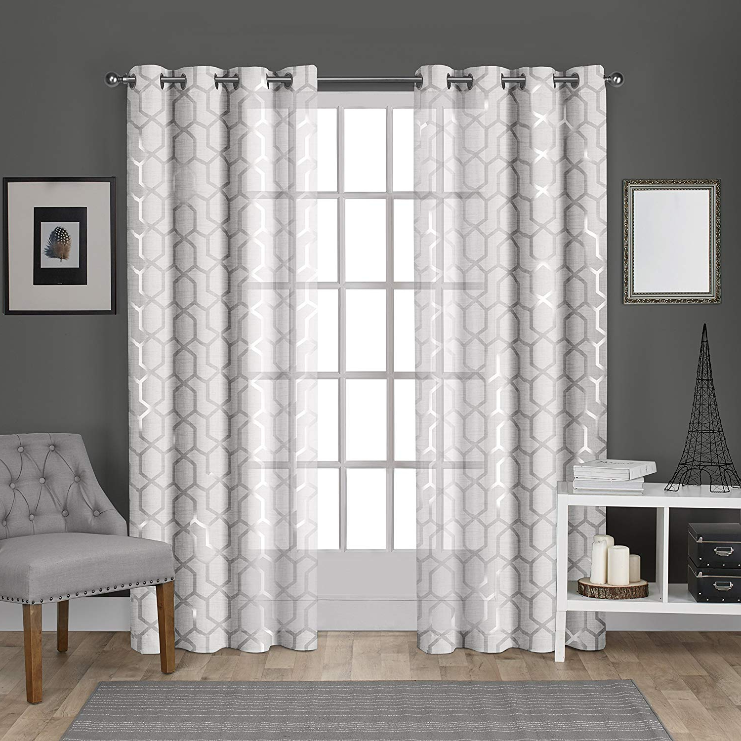 Most Up To Date Total Blackout Metallic Print Grommet Top Curtain Panels In Exclusive Home Curtains Panza Metallic Geometric Print Sheer Window Curtain Panel Pair With Grommet Top, 54x96, Winter White, Silver, 2 Piece (View 9 of 20)