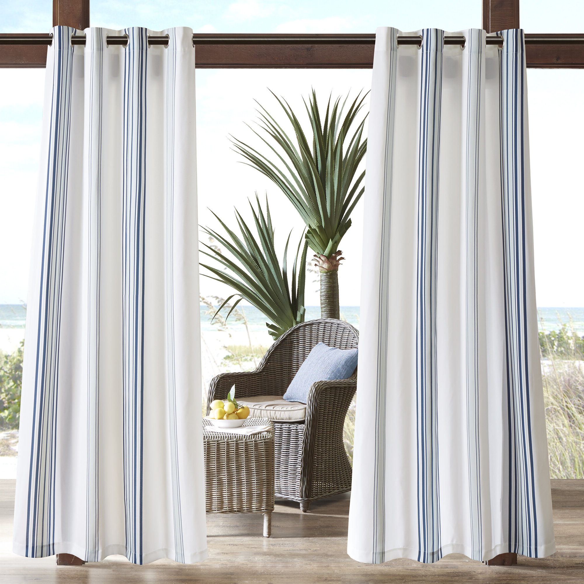 Most Up To Date Valencia Cabana Stripe Indoor/outdoor Curtain Panels In Corbin Striped Light Filtering Outdoor Single Curtain Panel (View 20 of 20)