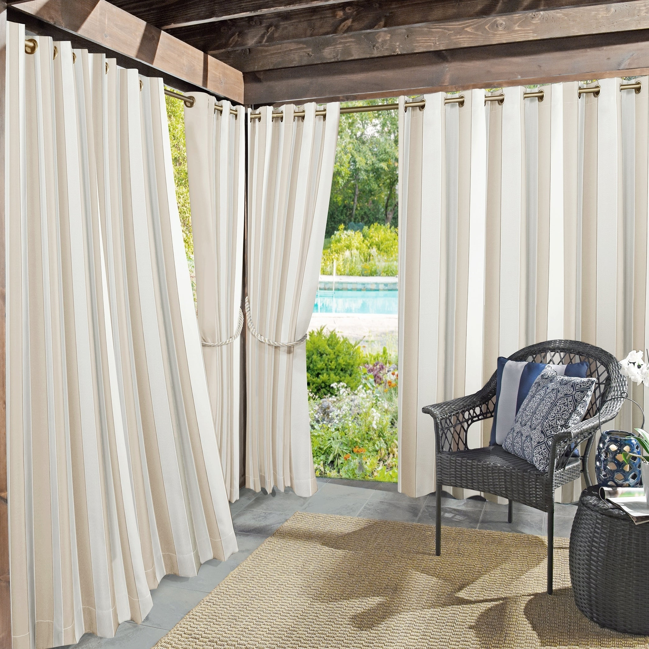 Most Up To Date Valencia Cabana Stripe Indoor/outdoor Curtain Panels In Sun Zero Valencia Cabana Stripe Indoor/outdoor Curtain Panel (View 3 of 20)