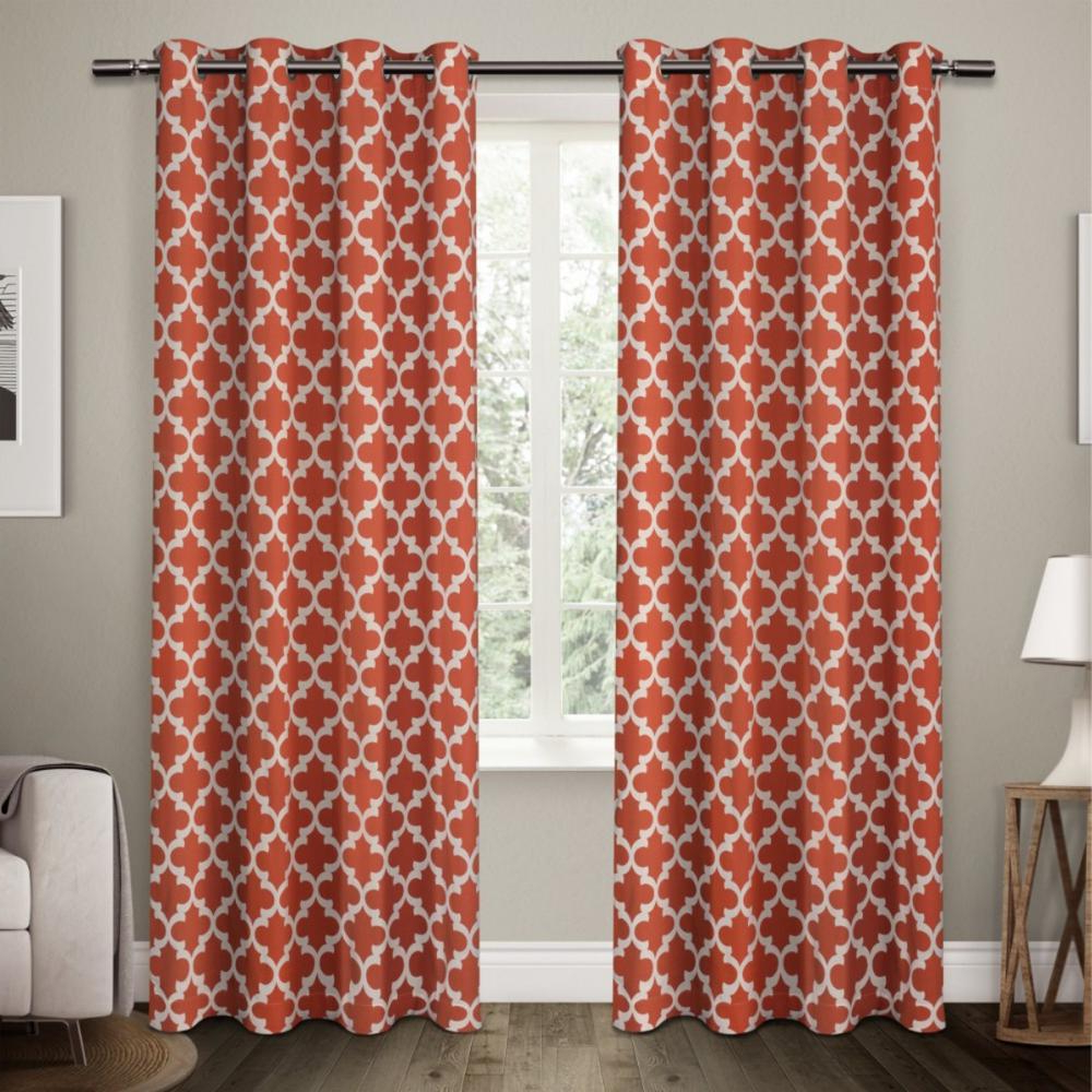 Neptune Mecca Orange Cotton Grommet Top Window Curtain Inside Preferred Mecca Printed Cotton Single Curtain Panels (View 14 of 21)