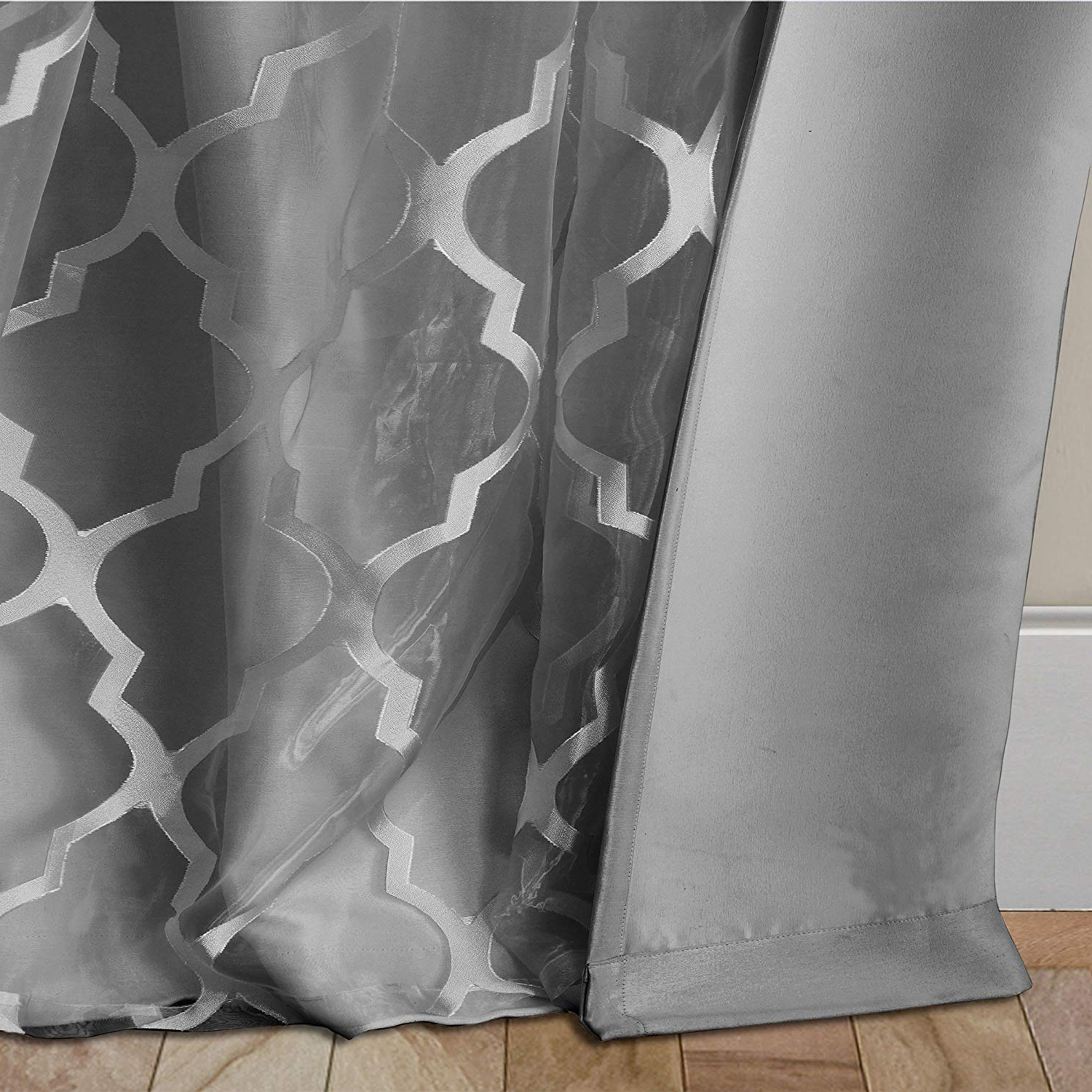 Newbridge Elrene Bethany Sheer Lattice Pattern Curtain With Attached Faux Silk Woven Blackout Lining, Grommet Top Curtain Panel, 52 Inch Wide X 84 Throughout 2021 Bethany Sheer Overlay Blackout Window Curtains (View 5 of 20)