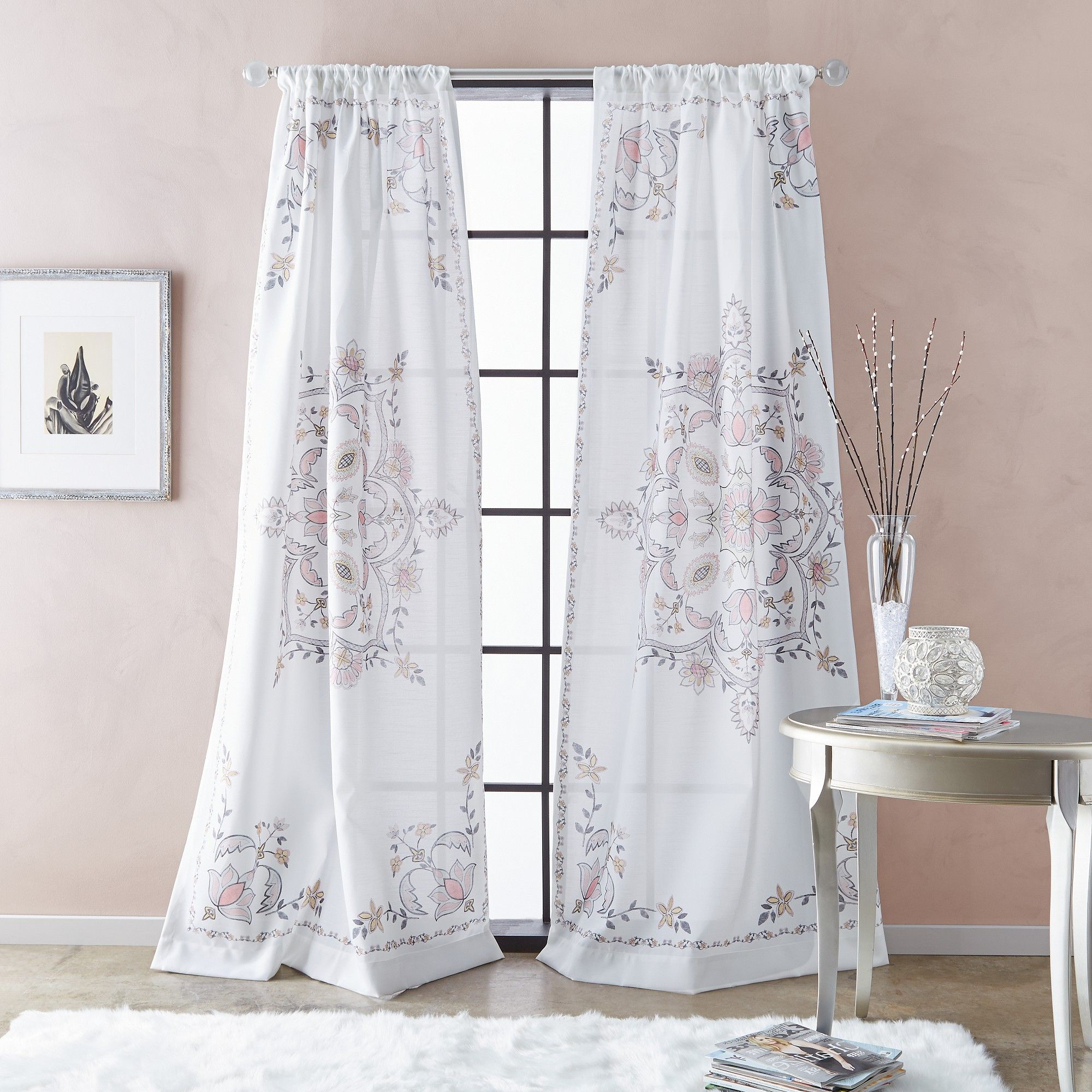 "Newest 95"" Farrah Poletop Curtain Panel Blush In (View 15 of 20)"