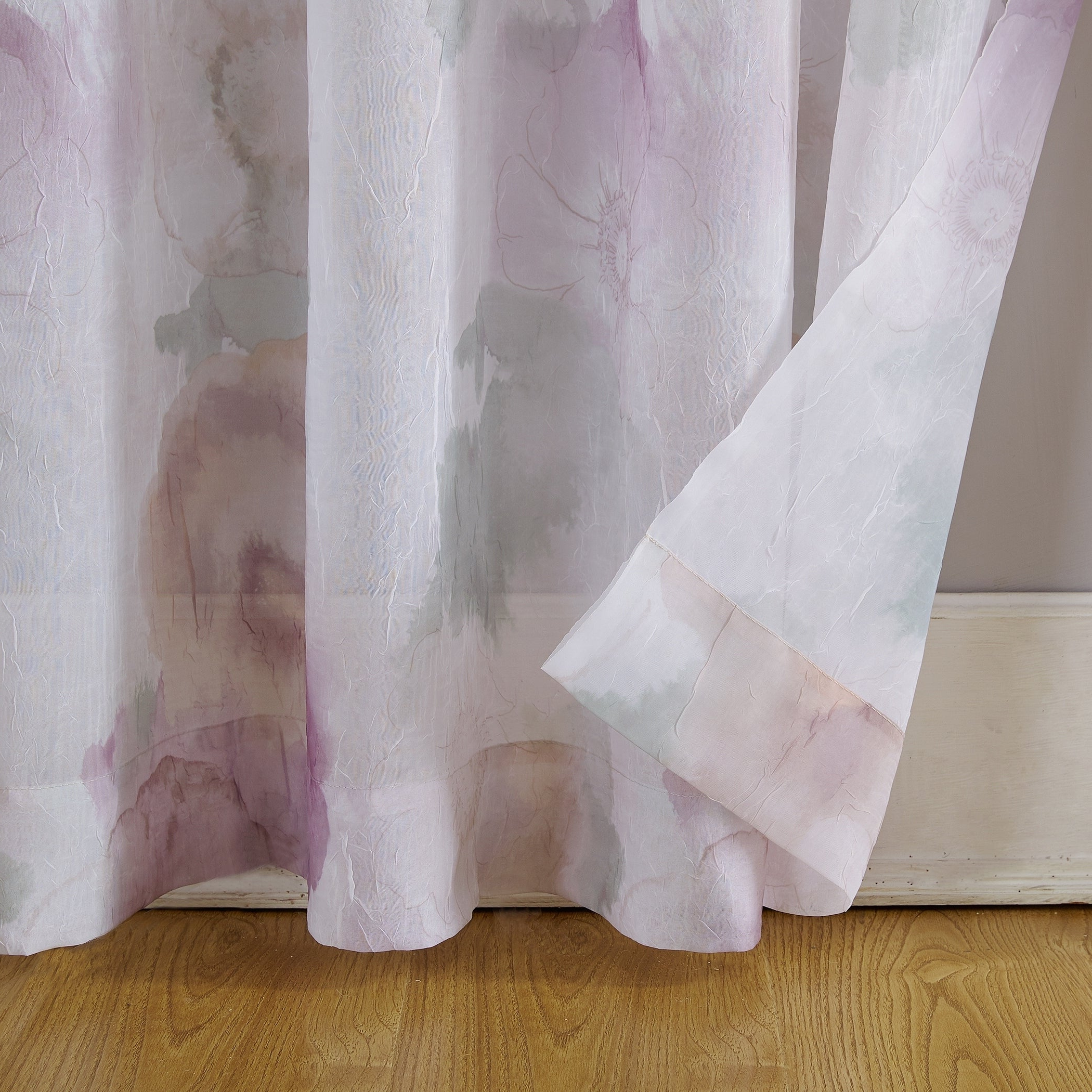 Newest Andorra Watercolor Floral Textured Sheer Single Curtain Panels Within No (View 3 of 20)