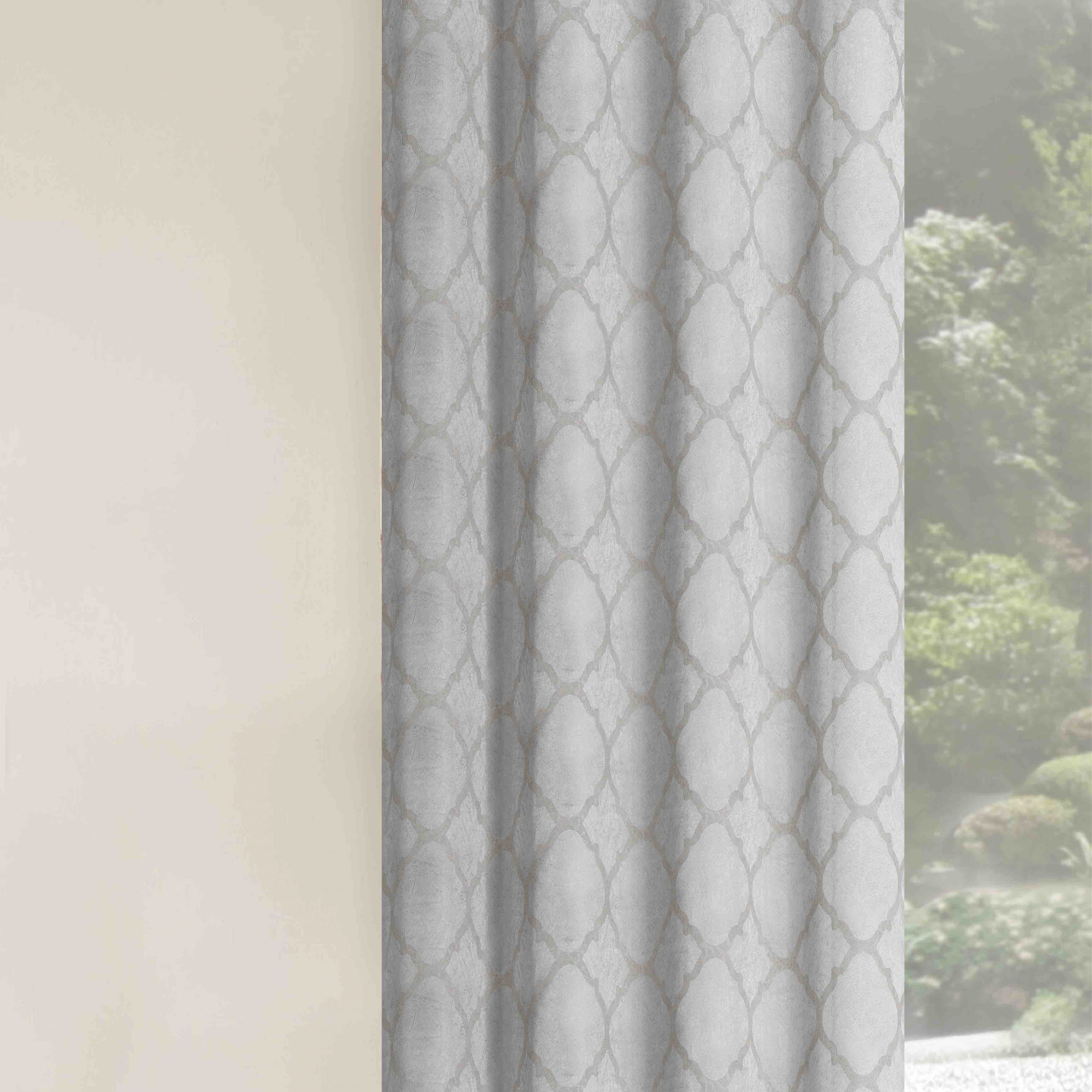 Newest Arrowsmith Energy Saving Basic Metallic Lattice Geometric Blackout Thermal Grommet Curtain Panel Pair Inside Total Blackout Metallic Print Grommet Top Curtain Panels (View 19 of 20)