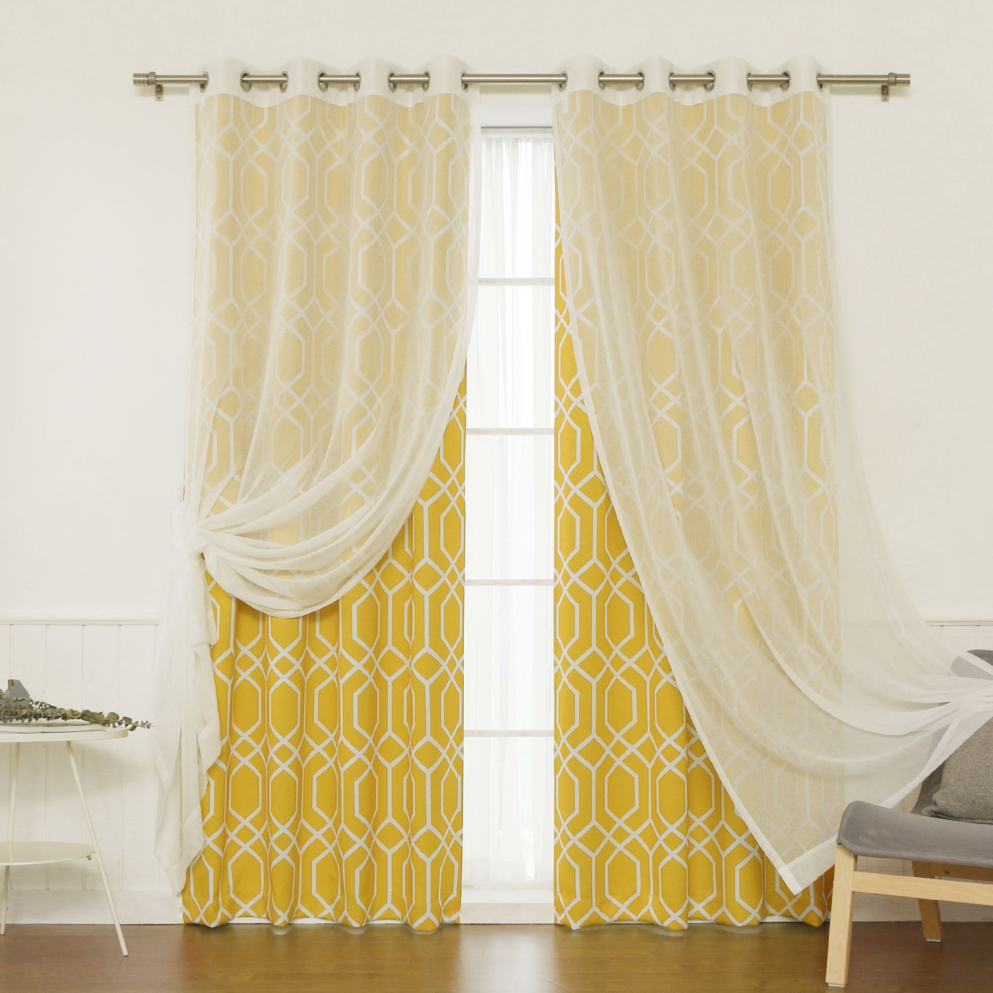 Newest Aurora Home Mix And Match Curtains Muji Sheer Geometric With Luxury Collection Monte Carlo Sheer Curtain Panel Pairs (View 12 of 20)