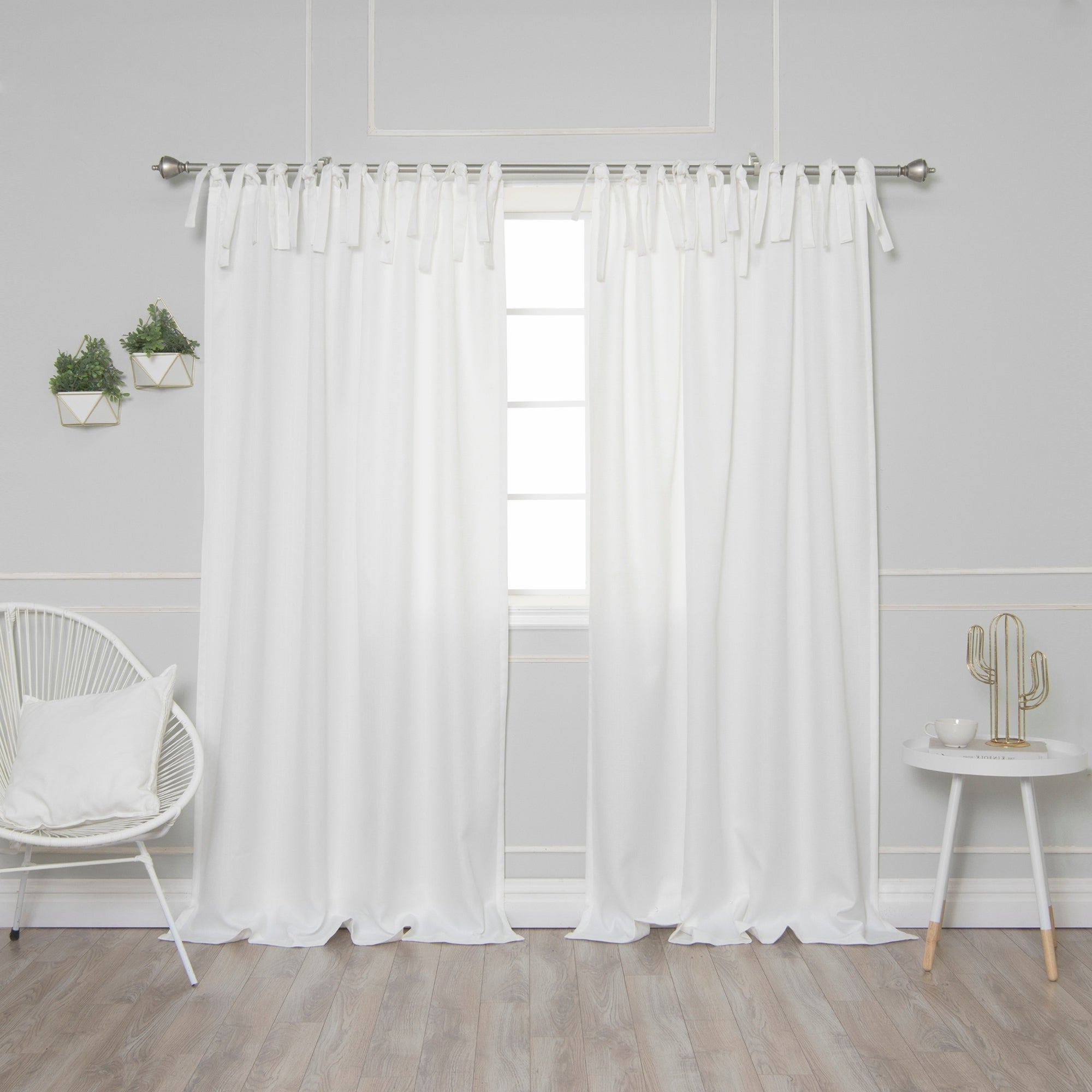 Newest Aurora Home Tie Top Oxford Curtain Panel Pair With Elrene Jolie Tie Top Curtain Panels (View 14 of 20)