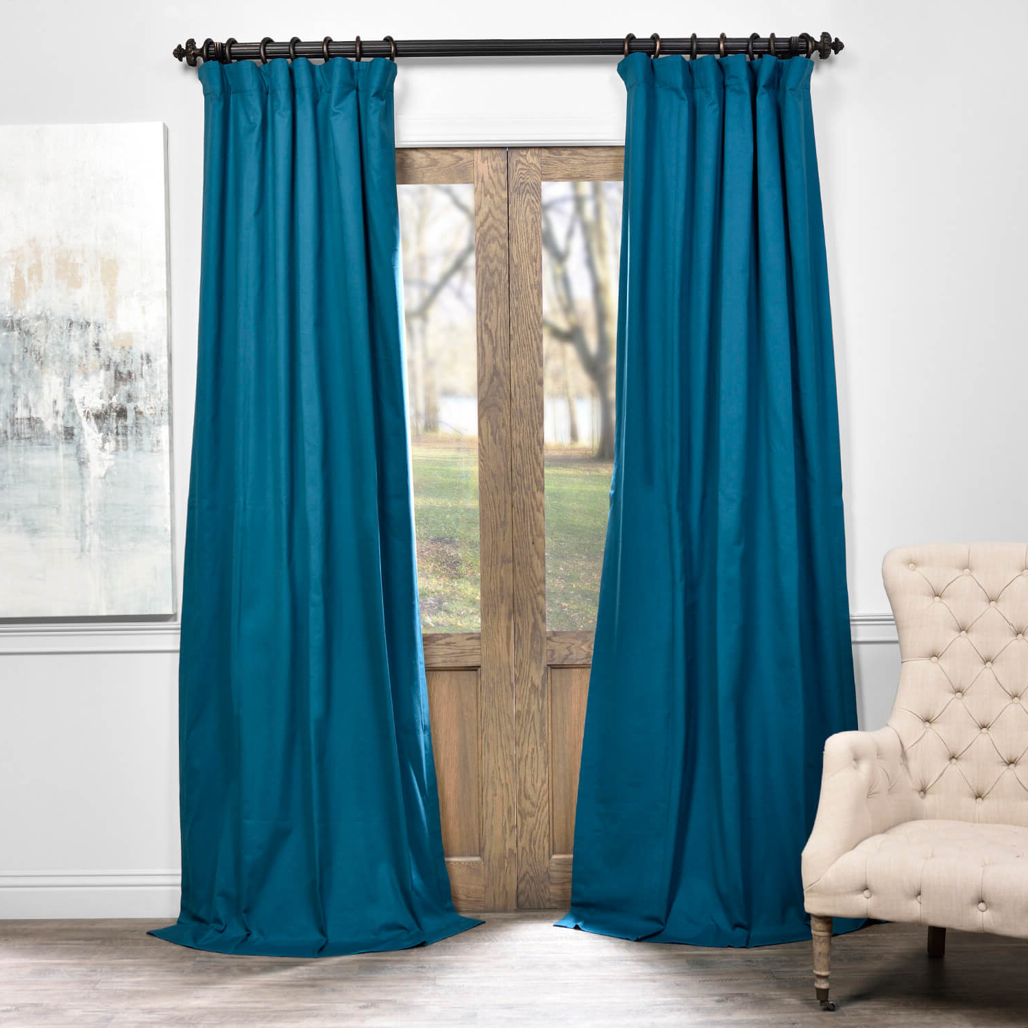 Newest Caribbean Current Solid Cotton Blackout Curtain In Signature Pinch Pleated Blackout Solid Velvet Curtain Panels (View 17 of 20)