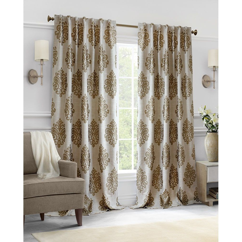 Newest Classic Hotel Quality Water Resistant Fabric Curtains Set With Tiebacks Within Softline Hillston Cream Medallion Curtain Panel (View 14 of 20)