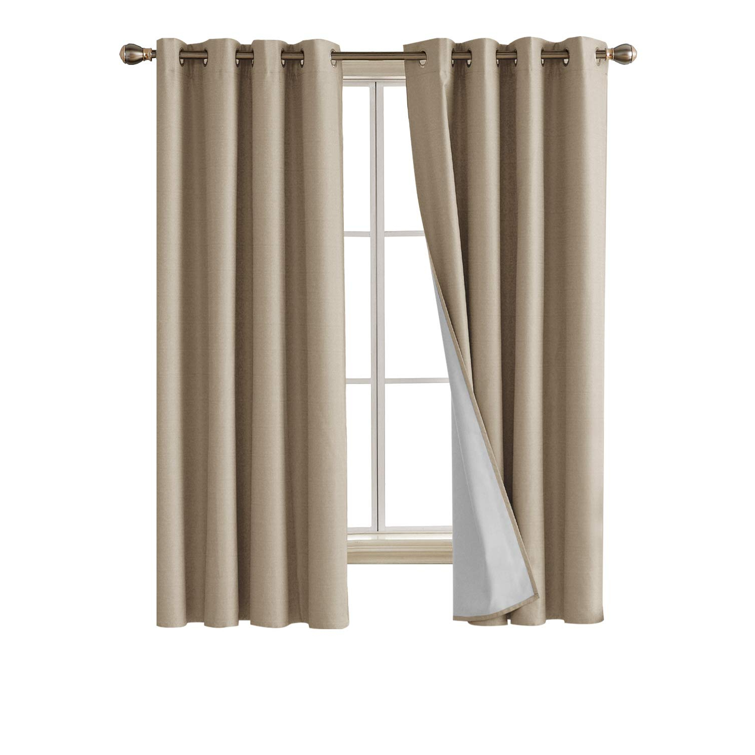 Newest Deconovo Faux Linen Blackout Curtains With 3 Pass Energy Efficient Thermal Insulated Coating Room Darkening Curtains Drapes For Dining Room 52 X 72 With Faux Linen Blackout Curtains (View 5 of 20)