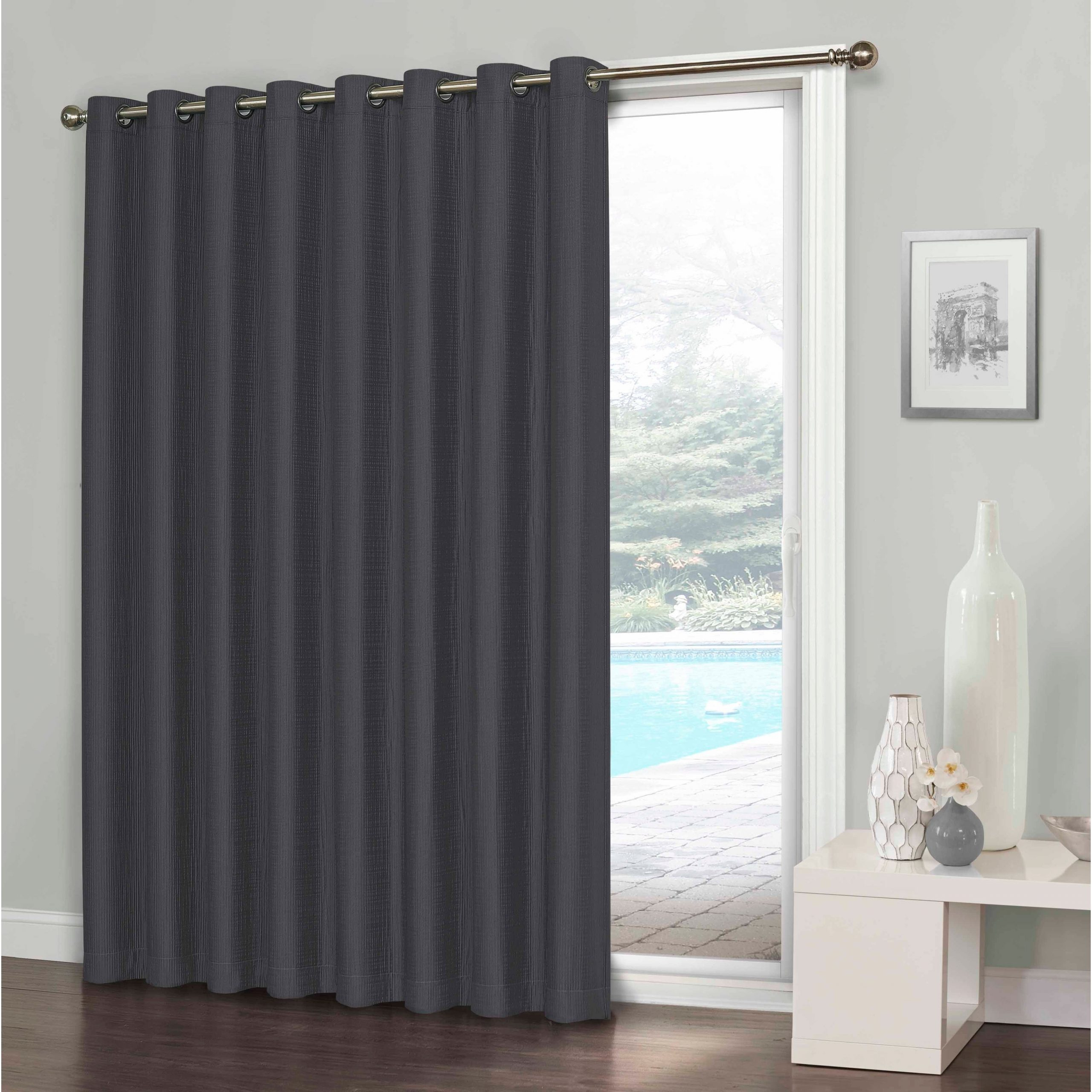 Newest Eclipse Clara Thermaweave Blackout Patio Door Curtain – 100X84 Pertaining To Thermaweave Blackout Curtains (View 9 of 20)