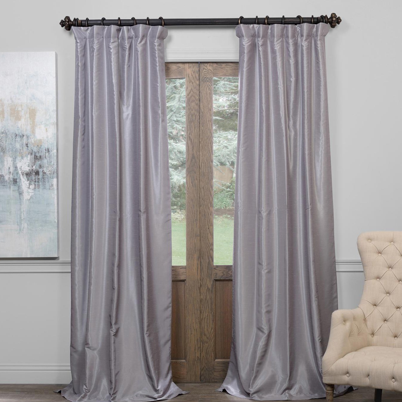 Newest Exclusive Fabrics True Blackout Vintage Textured Faux Dupioni Silk Curtain Panel In True Blackout Vintage Textured Faux Silk Curtain Panels (View 2 of 20)