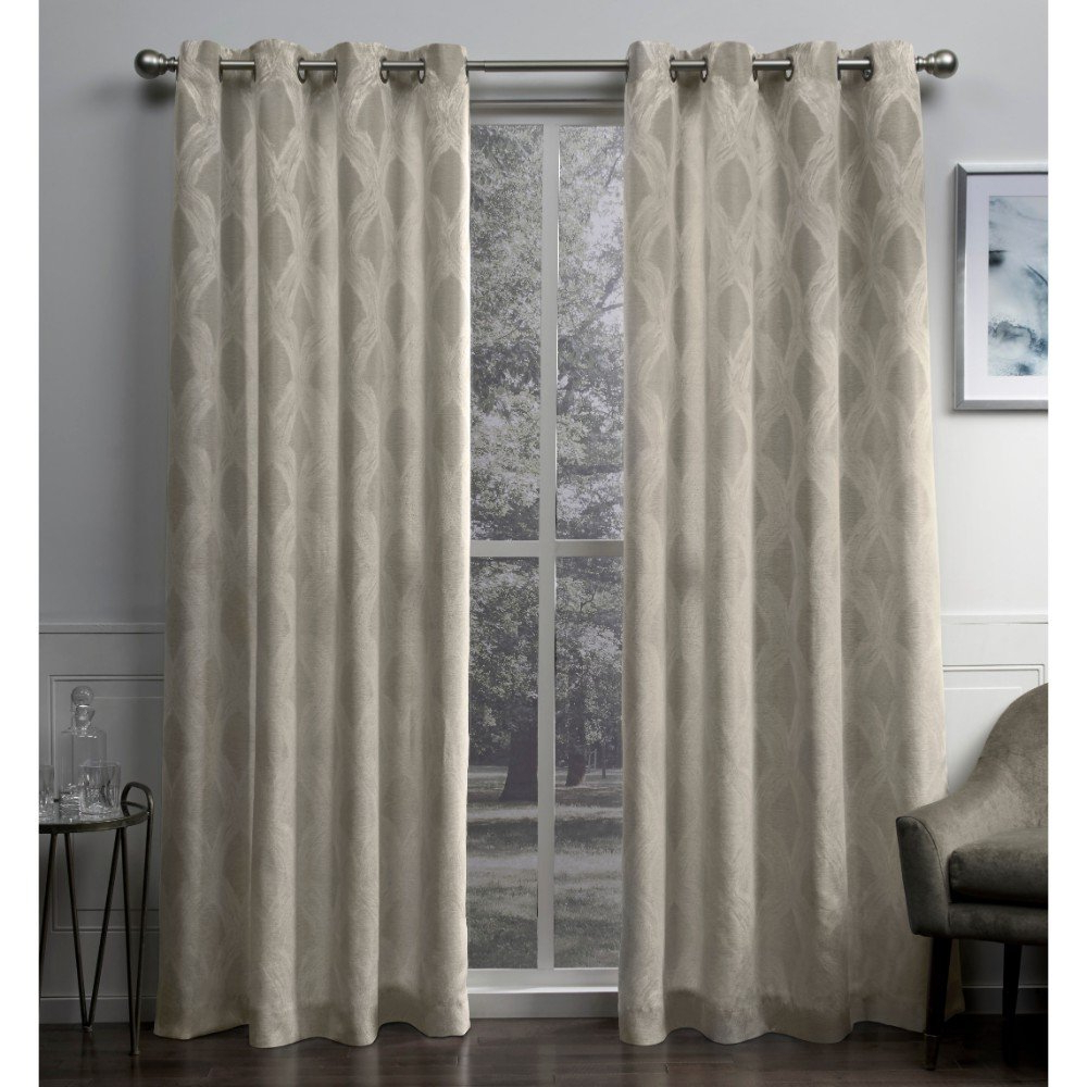 Newest Exclusive Home Curtains Dorado Geometric Textured Linen Jacquard Window Curtain Panel Pair With Grommet Top, 54x96, Natural, 2 Piece Inside Kaiden Geometric Room Darkening Window Curtains (View 8 of 20)