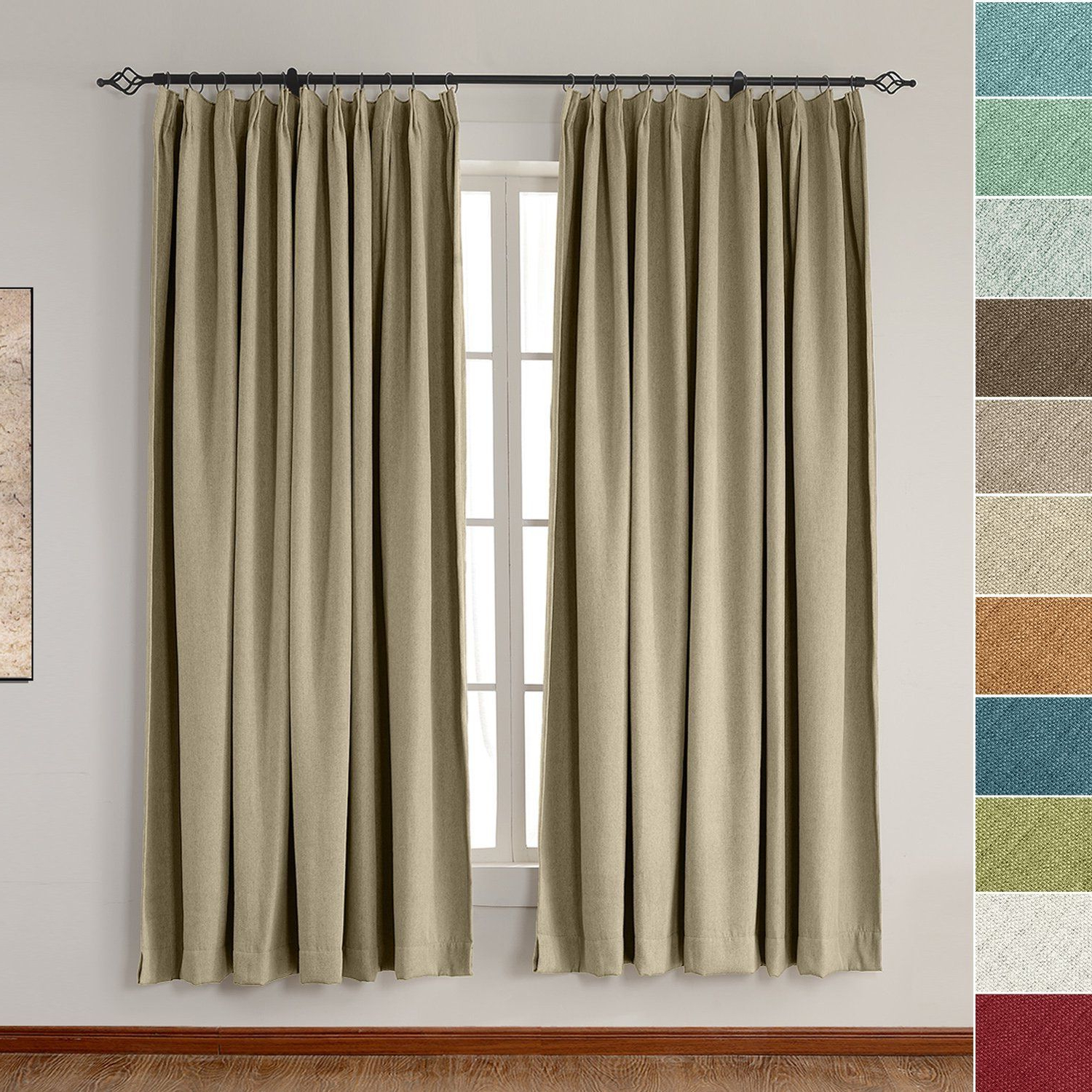 Newest Faux Linen Extra Wide Blackout Curtains Throughout Amazon: Extra Wide Heavyweight Luxury Faux Linen Curtain (View 15 of 21)
