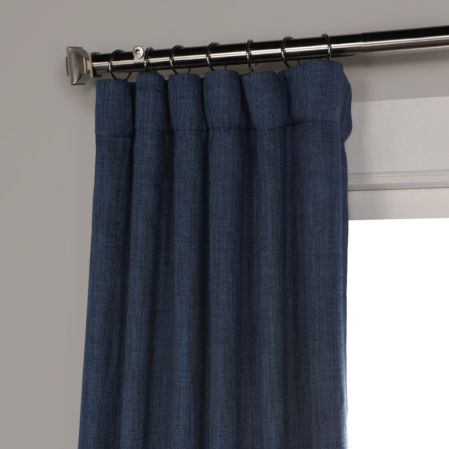 Newest Faux Linen Extra Wide Blackout Curtains With Indigo Faux Linen Blackout Curtain (View 13 of 21)