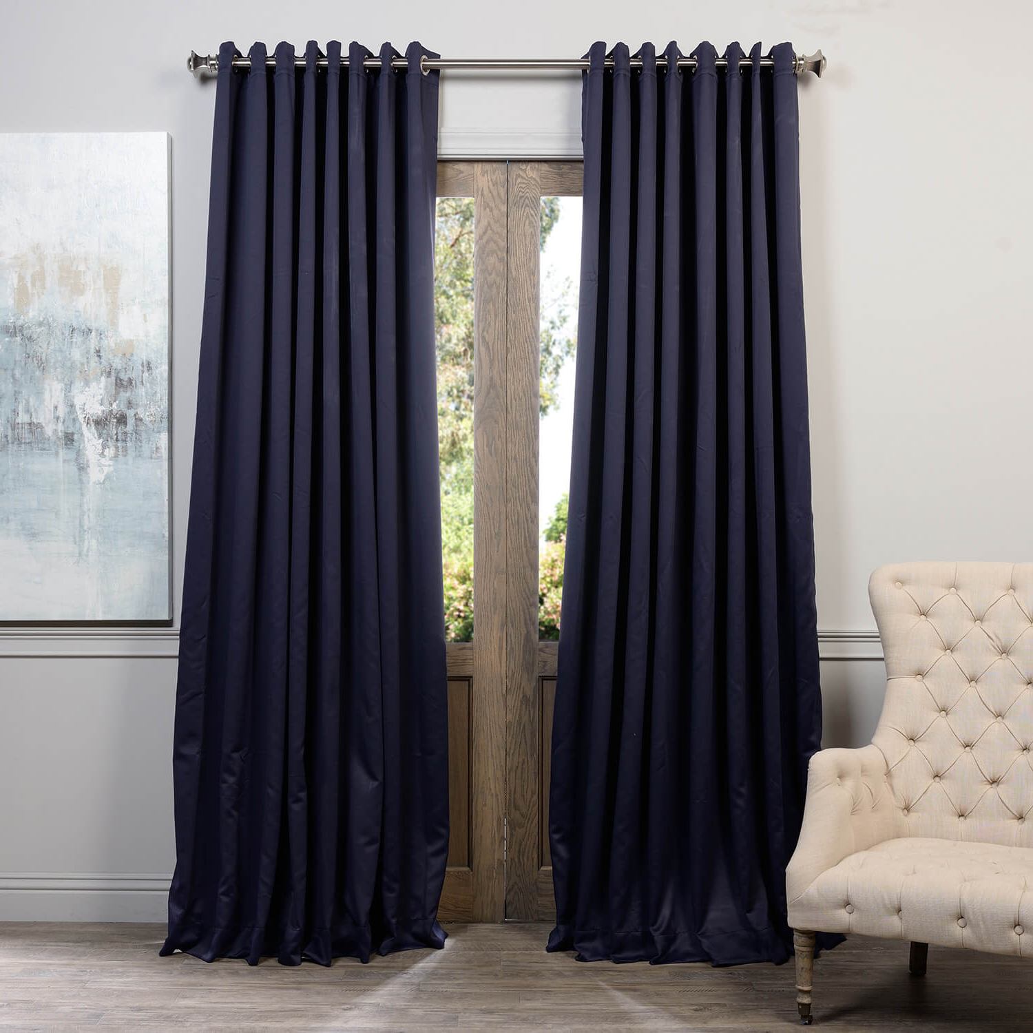 Newest Faux Silk Extra Wide Blackout Single Curtain Panels With Regard To Navy Blue Grommet Extra Wide Blackout Curtain (View 20 of 20)